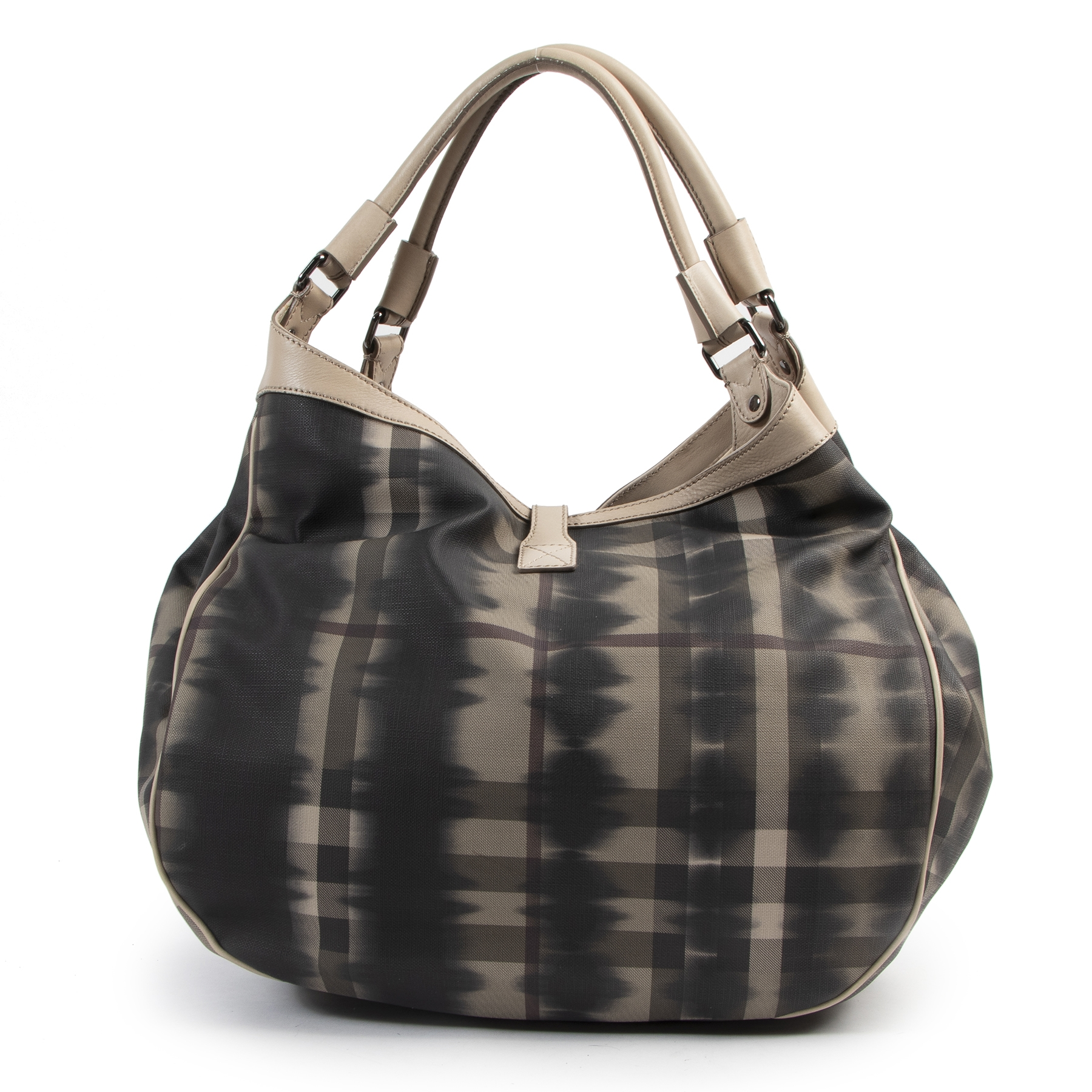 Authentic secondhand Burberry Check Canvas Oversized Tote Bag designer bags fashion luxury vintage webshop safe secure online shopping