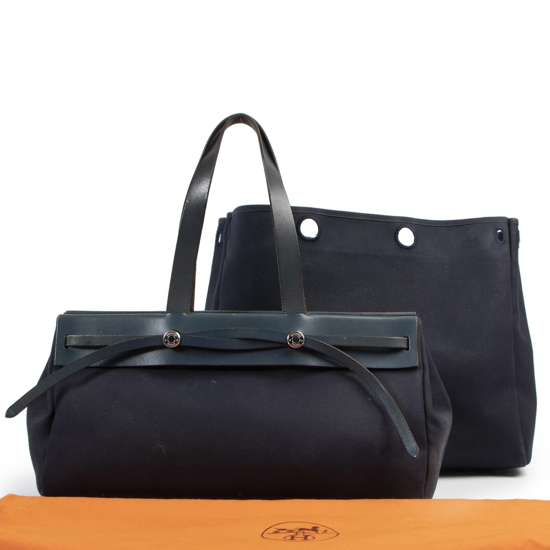 Authentieke Tweedehands Hermès Blue Marine Herbag Cabas Tote juiste prijs veilig online shoppen luxe merken webshop winkelen Antwerpen België mode fashion
