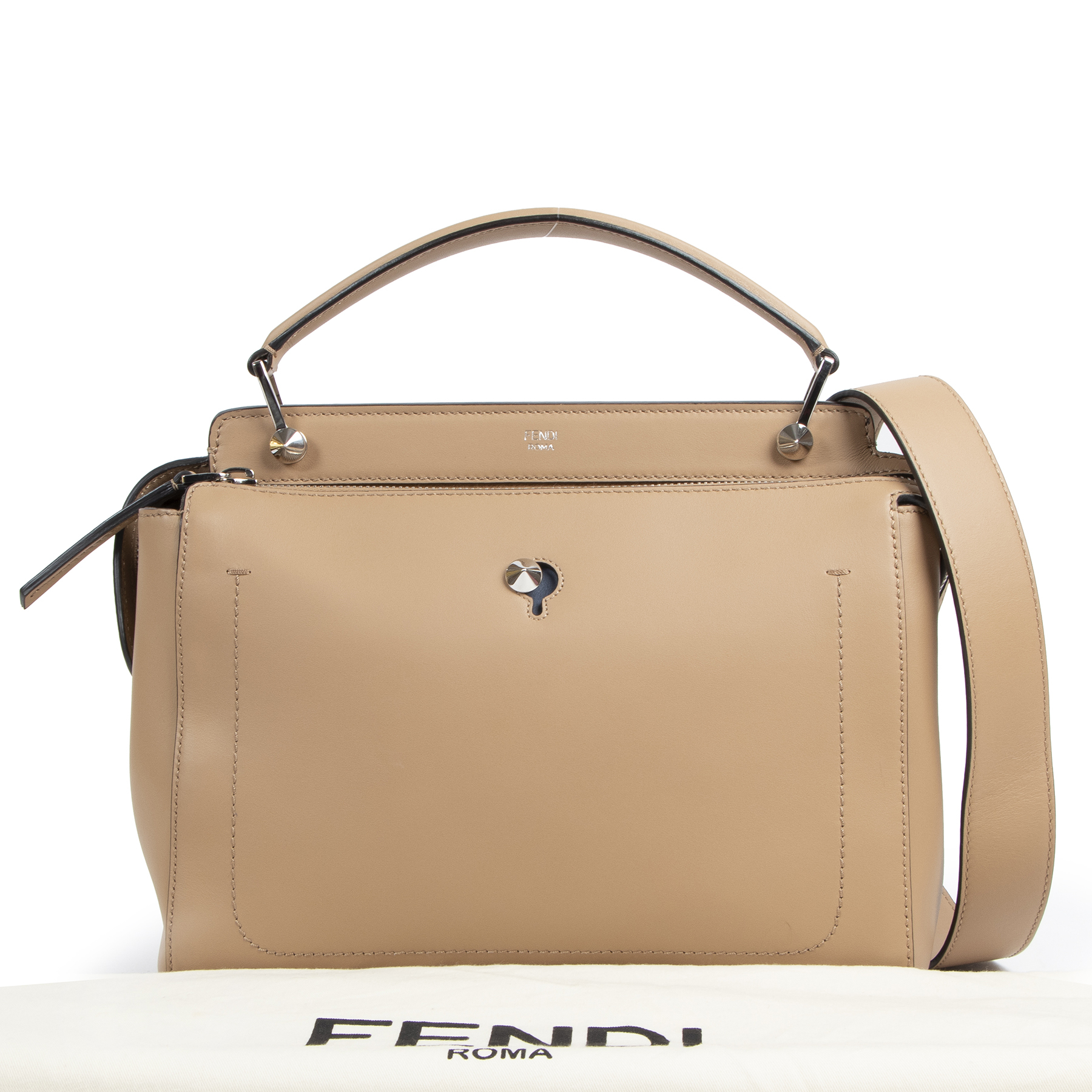 Fendi Beige Leather Dotcom Top Handle Bag