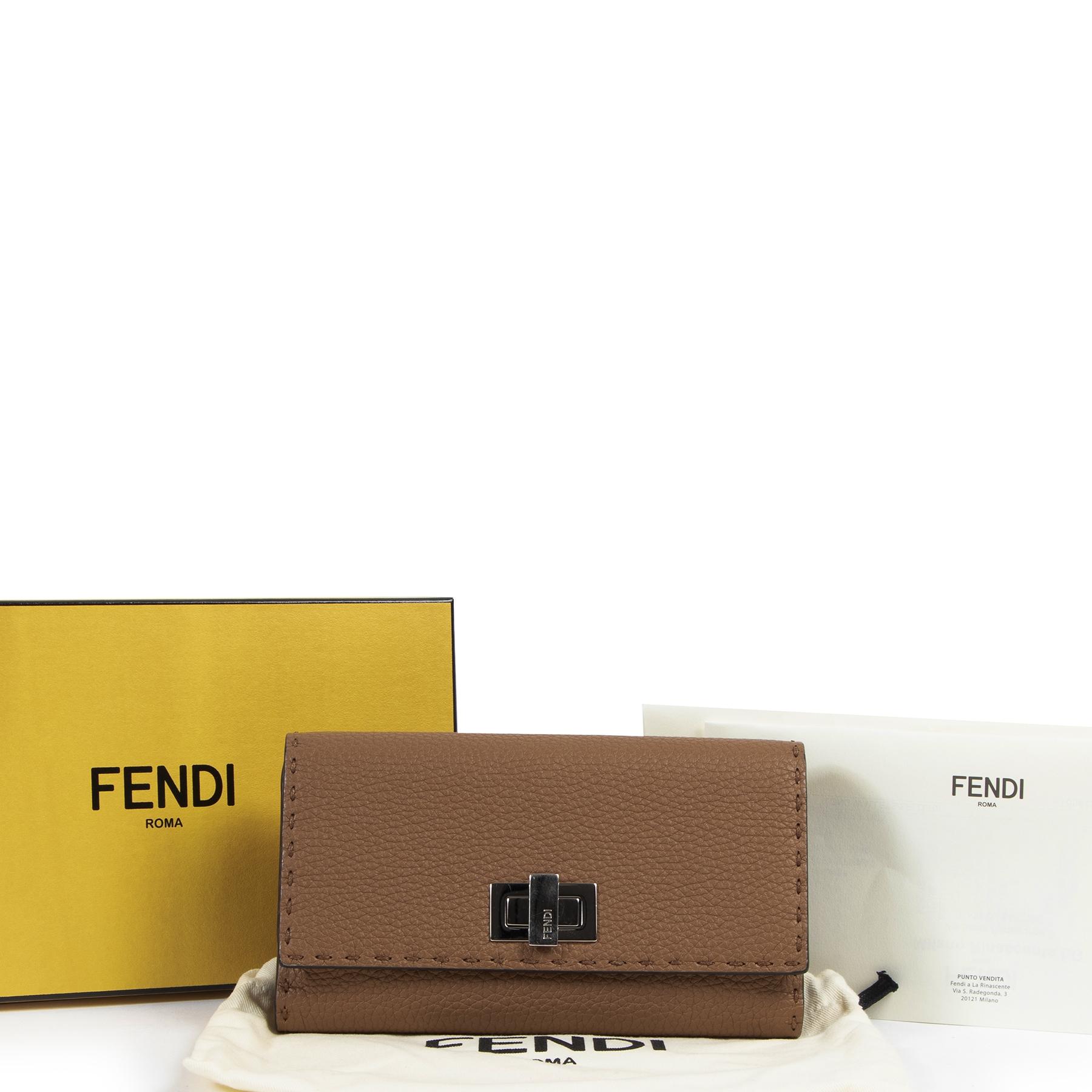 Fendi Cognac Grained Leather Peekaboo Wallet