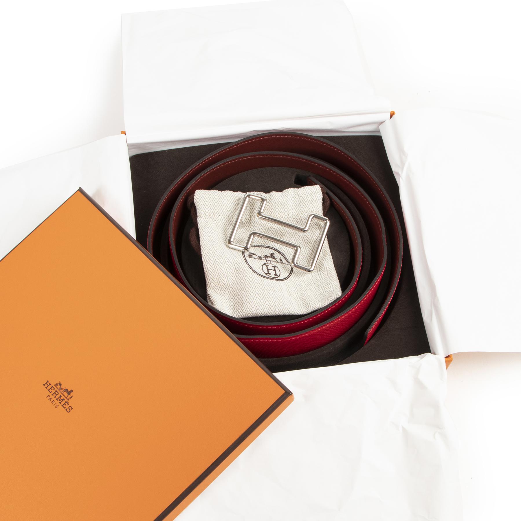 Authentic secondhand Hermès Red Leather Reversible H Belt - Size 105 designer accessories fashion luxury vintage webshop safe secure online shopping