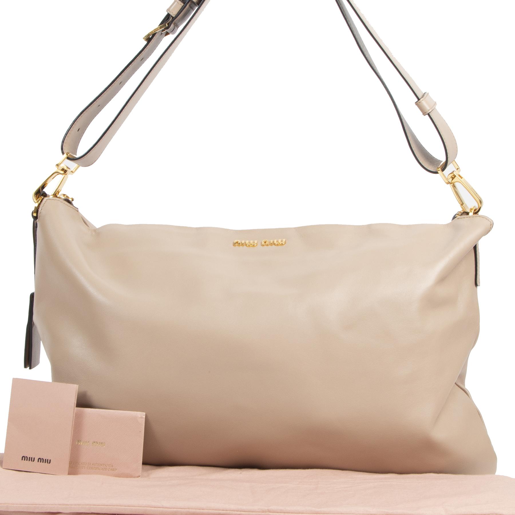 Authentic secondhand Miu Miu Beige Leather Shoulder Bag designer bags fashion luxury vintage webshop safe secure online shopping