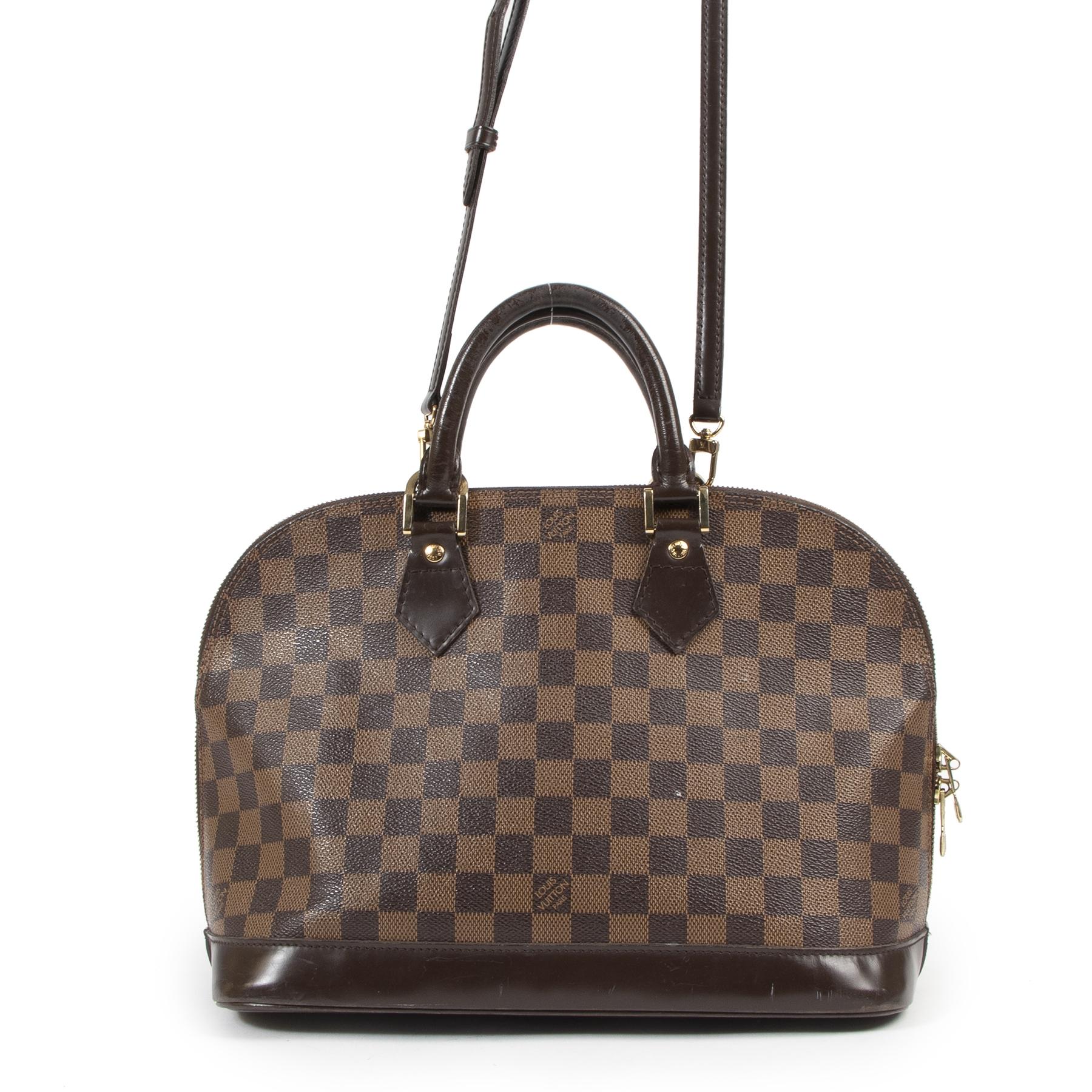 Authentieke Tweedehands Louis Vuitton Damier Ebene Alma Bag + Strap juiste prijs veilig online shoppen luxe merken webshop winkelen Antwerpen België mode fashion