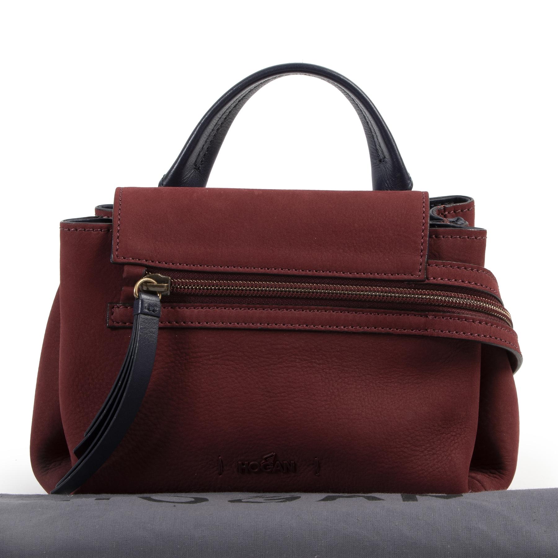 Authentic secondhand Hogan Bordeaux Nubuck Zipper Top Handle Bag designer bags fashion luxury vintage webshop safe secure online shopping