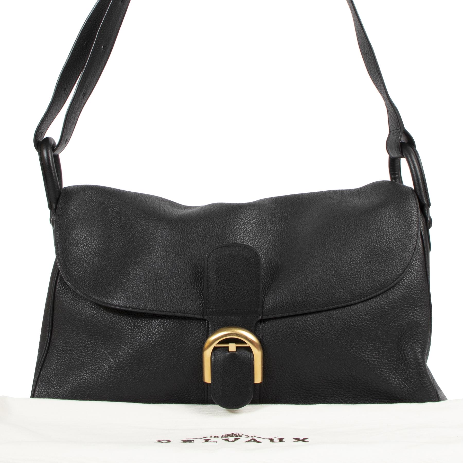 Authentic secondhand Delvaux Black Leather Brillant Besace Bag designer bags fashion luxury vintage webshop safe secure online shopping