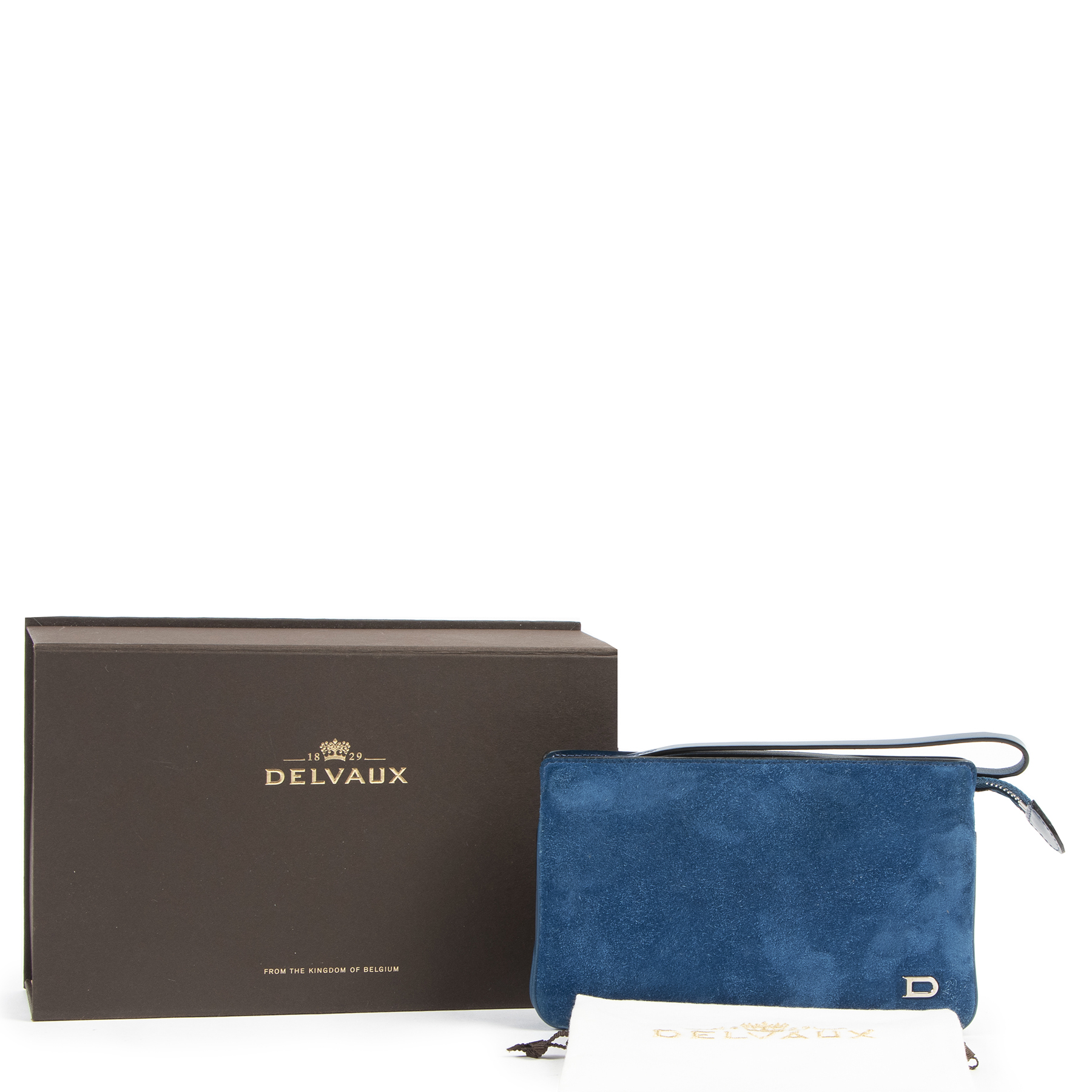 Delvaux Blue Nubuck Allure Trio Wallet