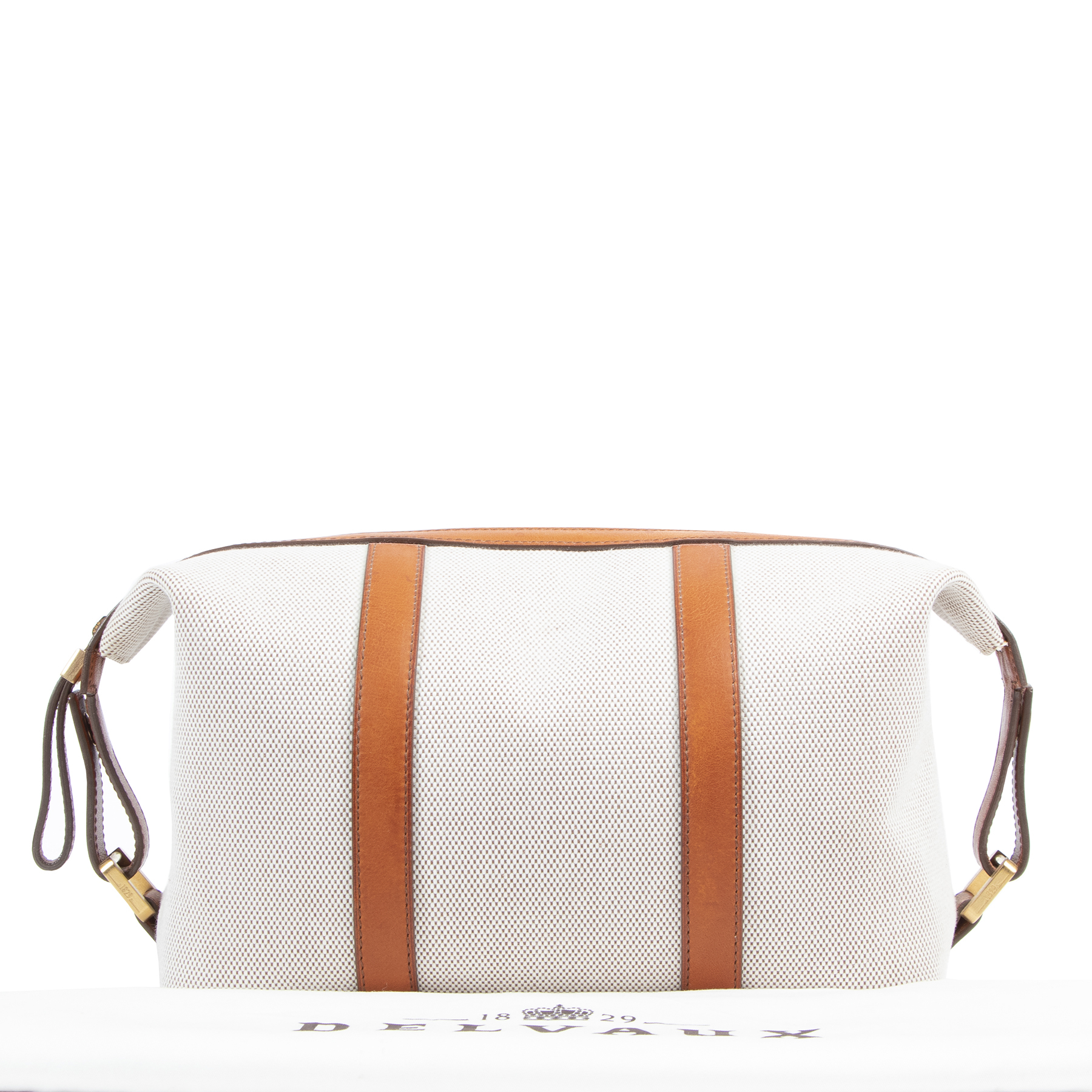 Delvaux Toile and Leather Pouch Bag