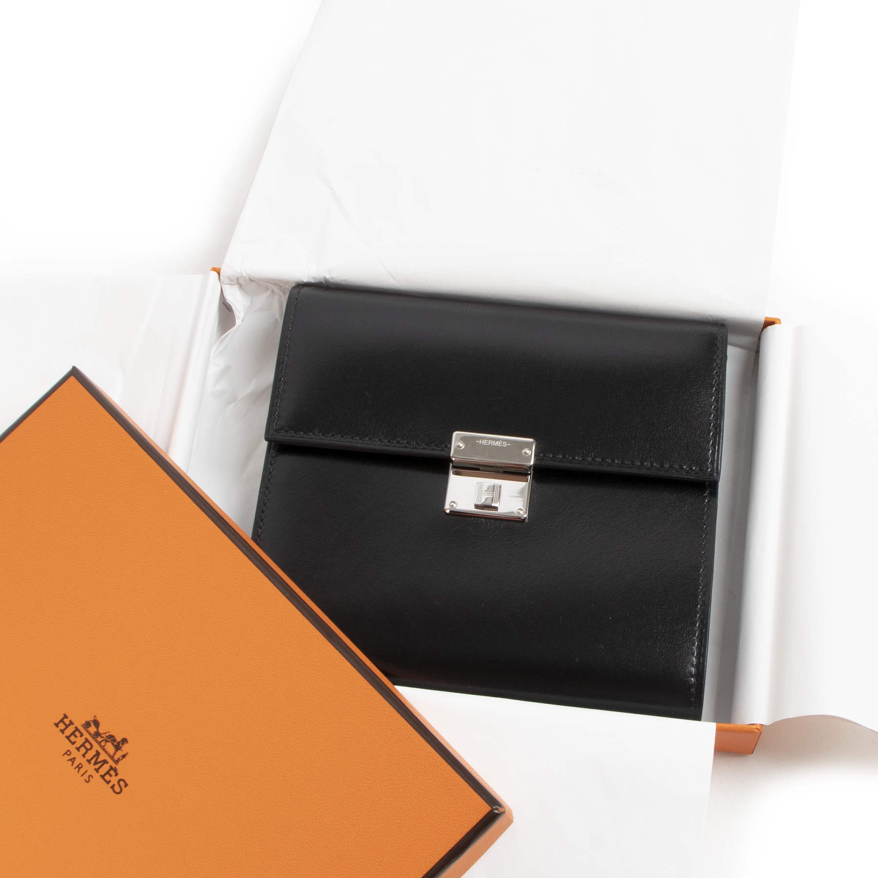 Authentieke Tweedehands Hermès Black Boxcalf Clic Mini Card Holder Wallet juiste prijs veilig online shoppen luxe merken webshop winkelen Antwerpen België mode fashion