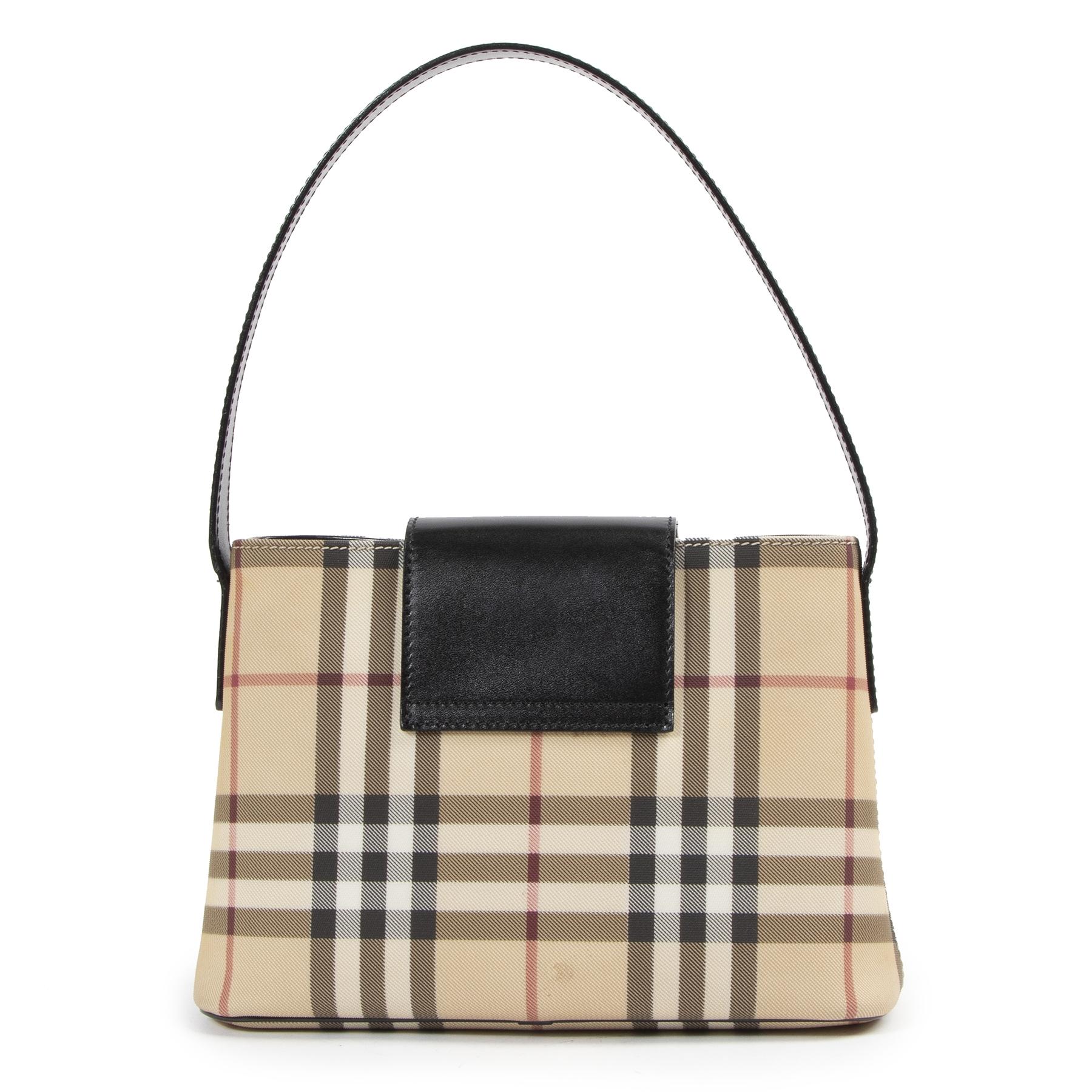 Authentieke Tweedehands Burberry Check Shoulder Bag juiste prijs veilig online shoppen luxe merken webshop winkelen Antwerpen België mode fashion