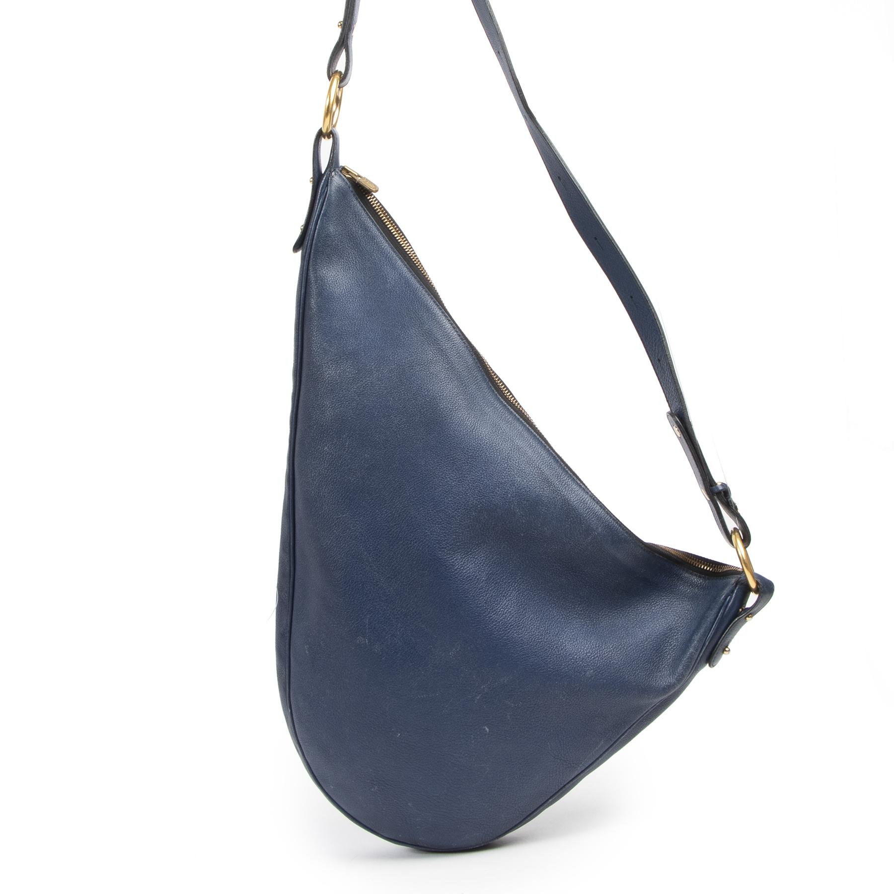 Authentieke Tweedehands Delvaux Blue Leather Sling Bag juiste prijs veilig online shoppen luxe merken webshop winkelen Antwerpen België mode fashion