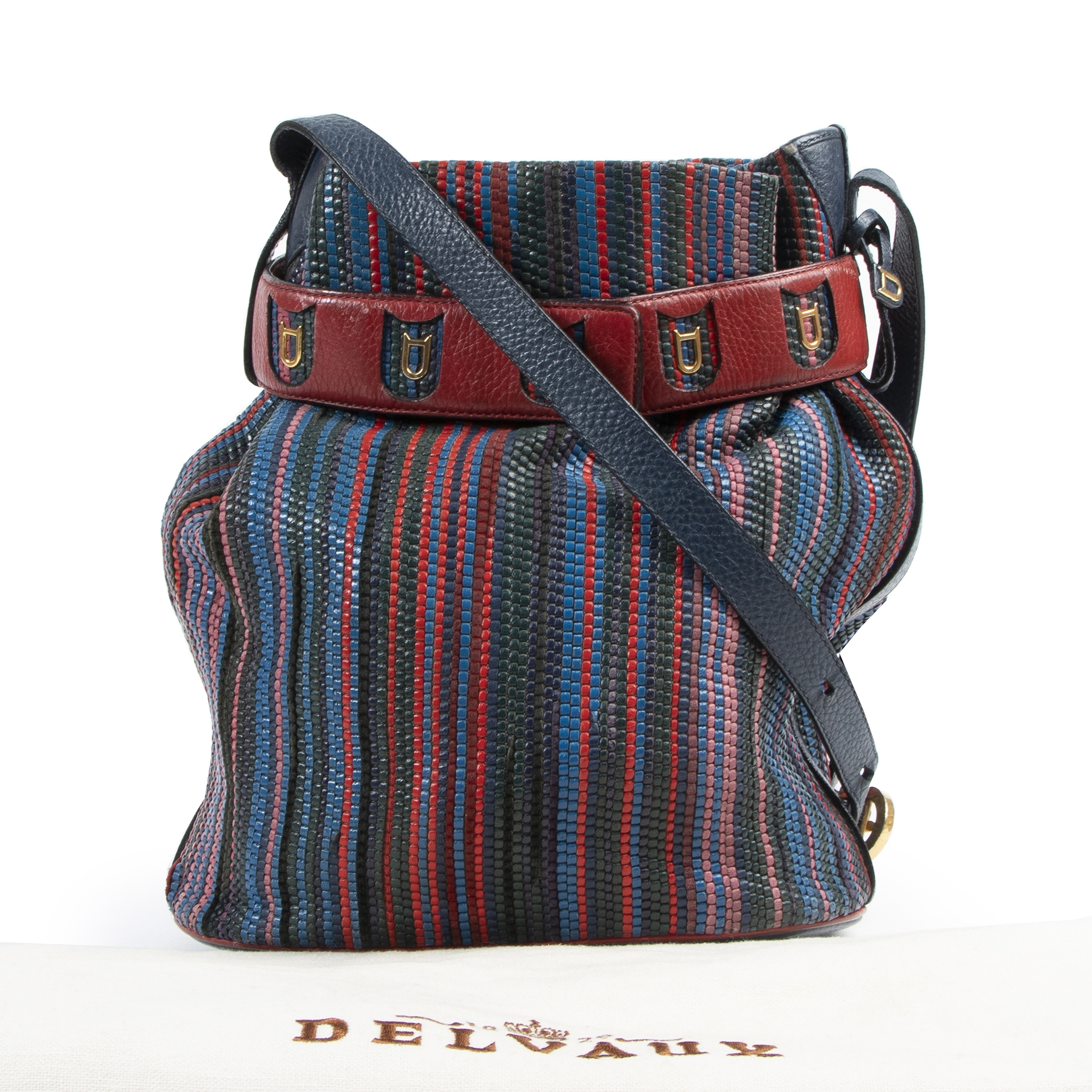 Delvaux Multicolor Toile de Cuir Calicot Bucket Bag