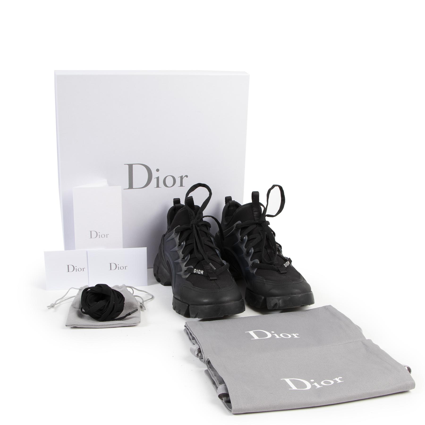 Authentieke Tweedehands Dior Black D-Connect Neoprene Sneakers - Size 36,5 juiste prijs veilig online shoppen luxe merken webshop winkelen Antwerpen België mode fashion