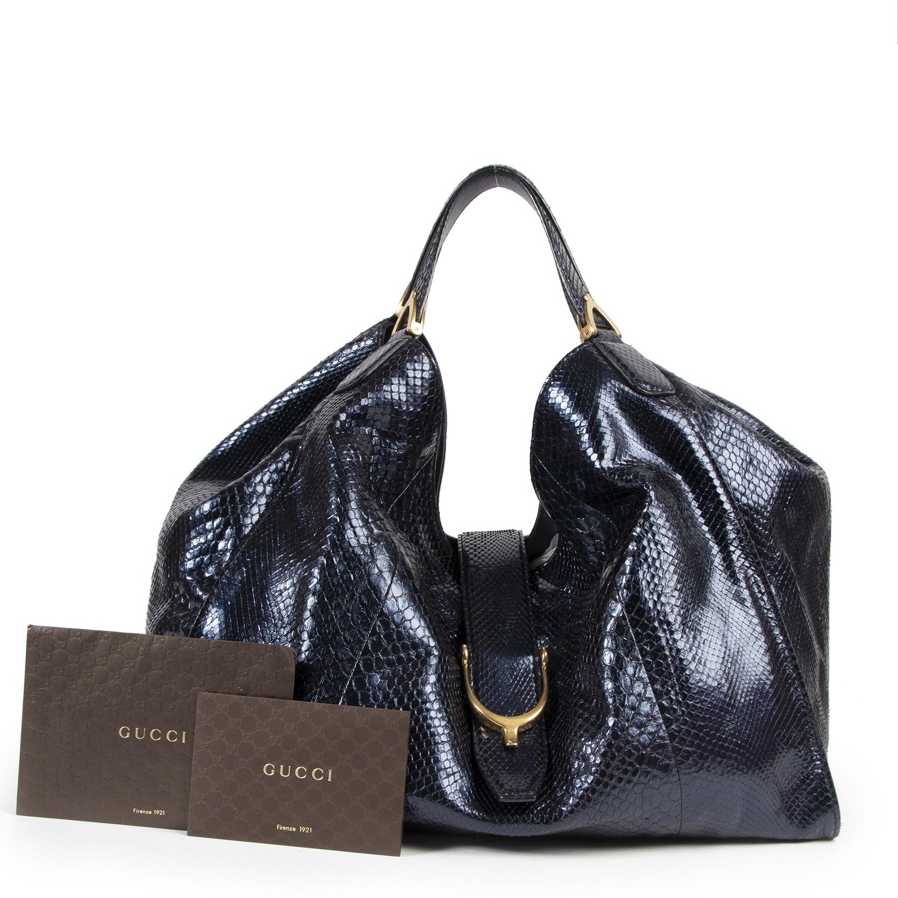 Authentic secondhand Gucci Metallic Blue Python Soft Stirrup Tote Bag designer bags fashion luxury vintage webshop safe secure online shopping