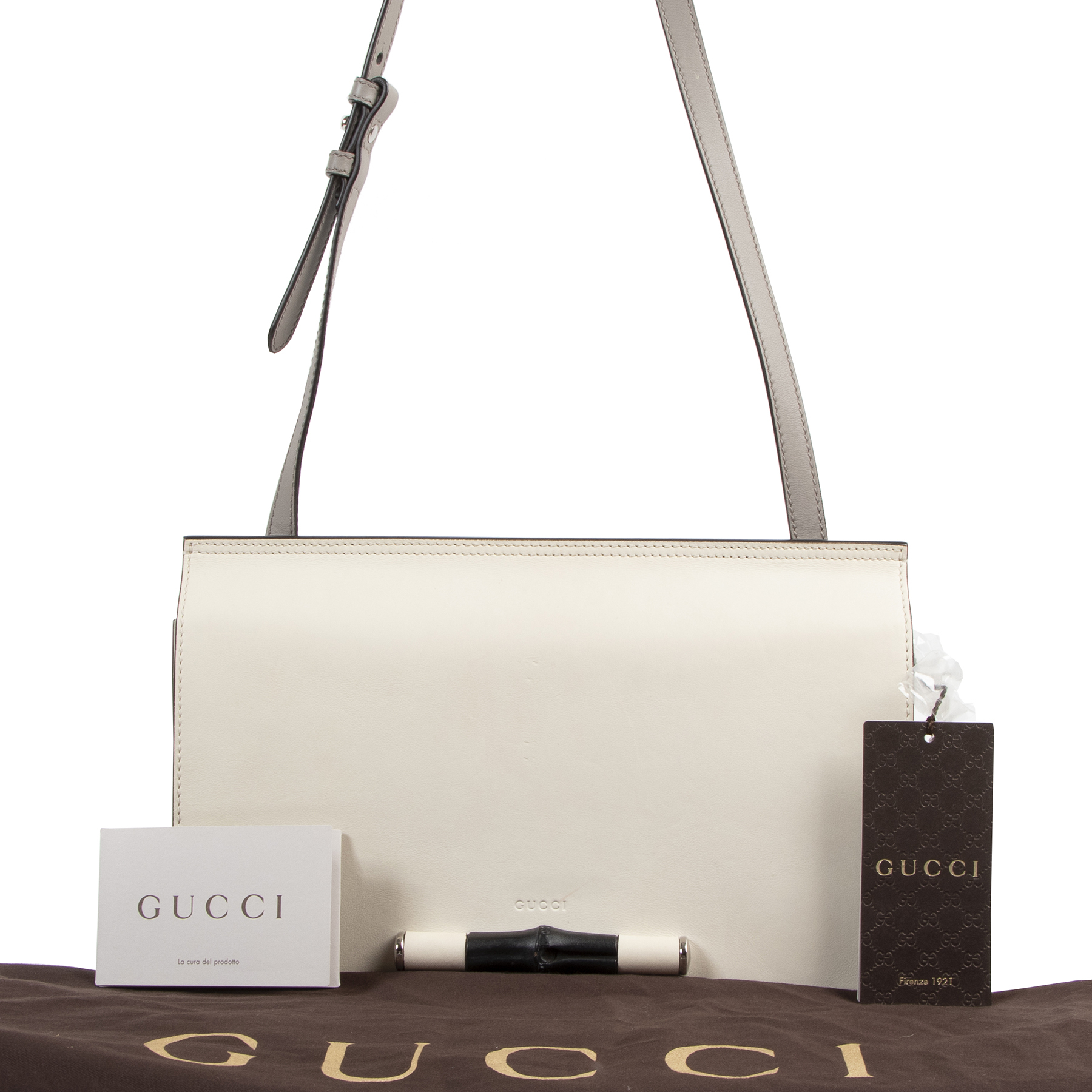 Authentic secondhand Gucci White Leather Bamboo Shoulder Bag designer bags fashion luxury vintage webshop safe secure online shopping