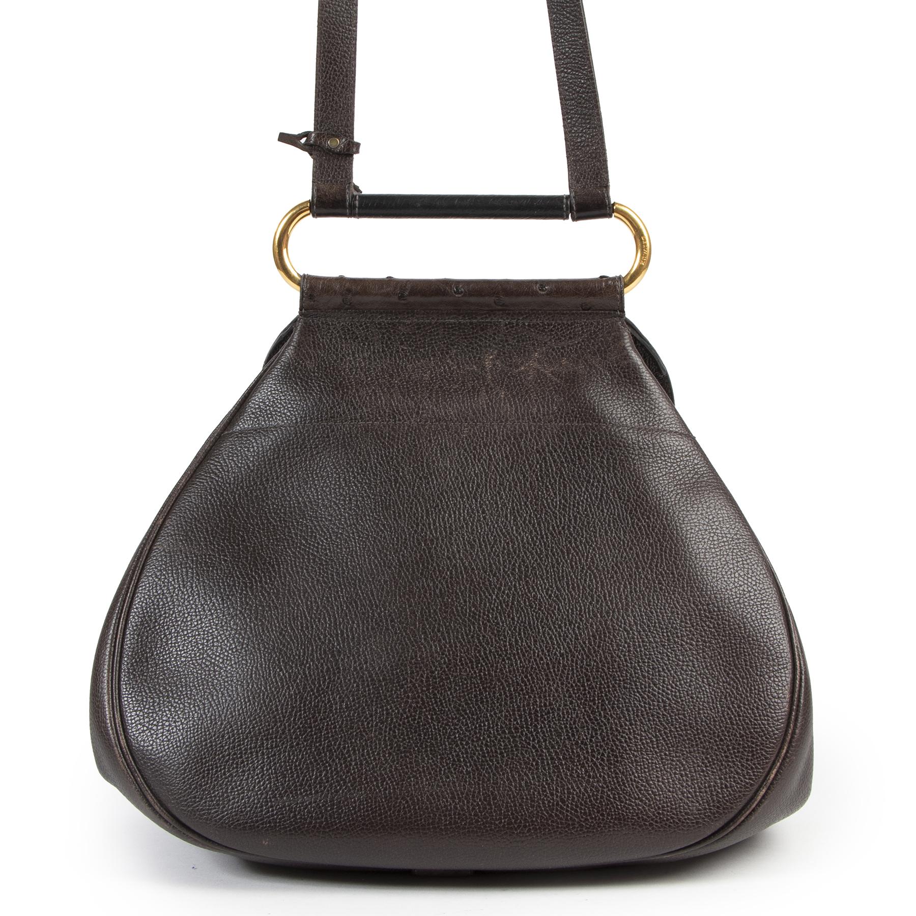 Delvaux Brown Ostrich Leather Cerceau Bag aan de beste prijs bij Labellov tweedehands luxe