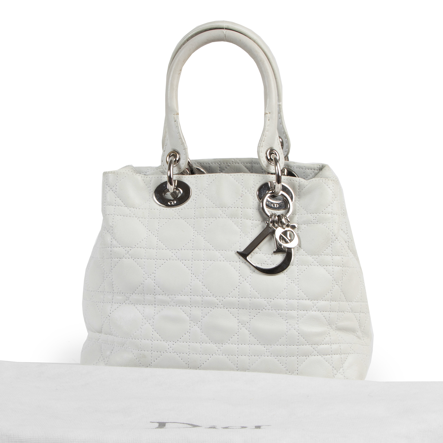 Are you looking for an authentic designer Dior White Leather Lady Dior Bag