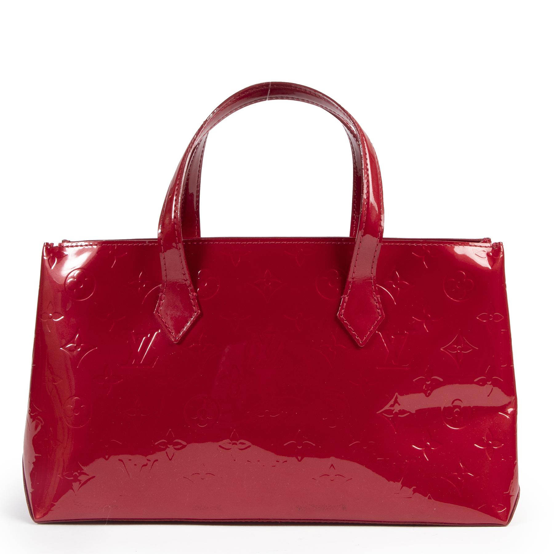 Authentieke Tweedehands Louis Vuitton Red Monogram Vernis Wilshire Bag juiste prijs veilig online shoppen luxe merken webshop winkelen Antwerpen België mode fashion