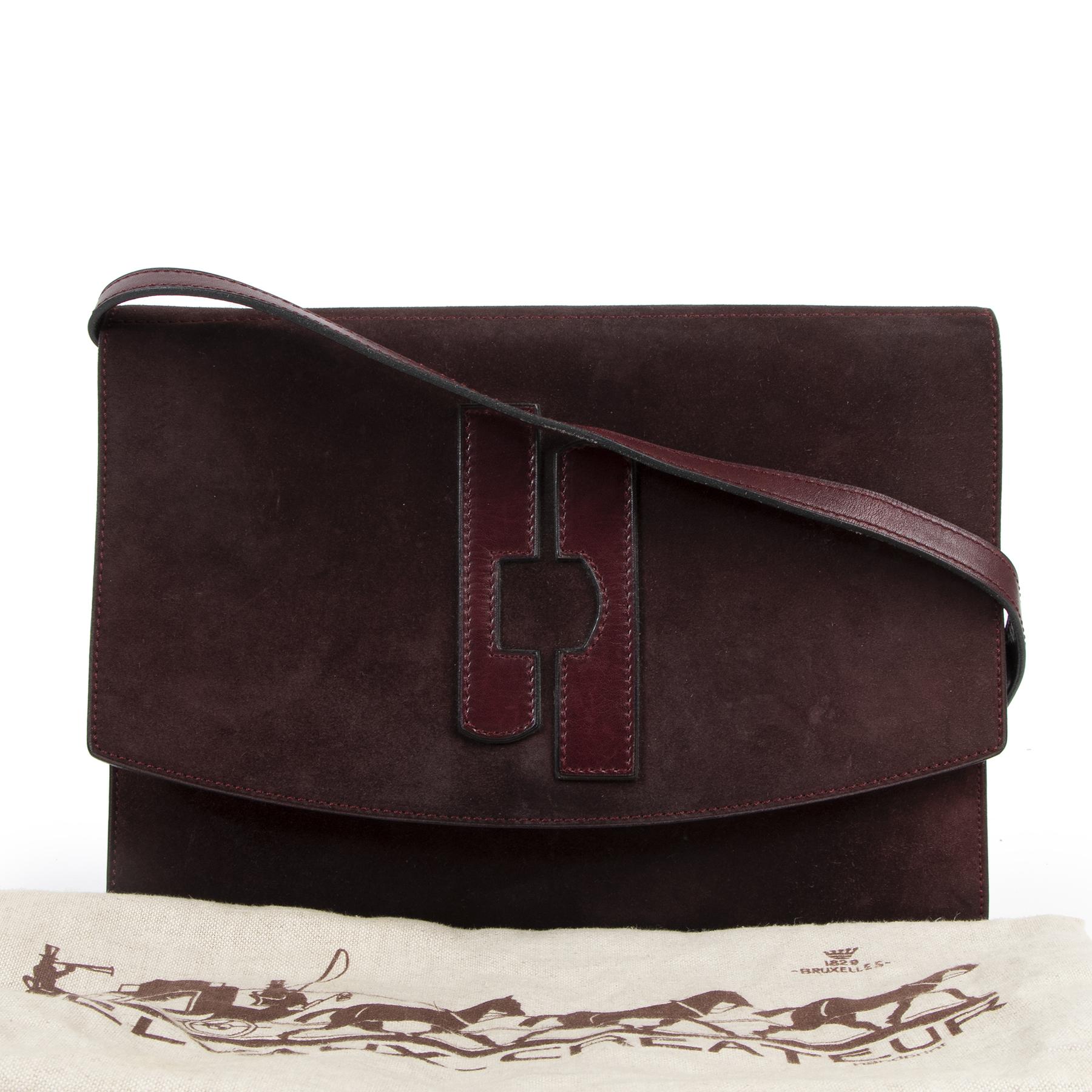 Delvaux Vintage Burgundy Suede Crossbody Bag