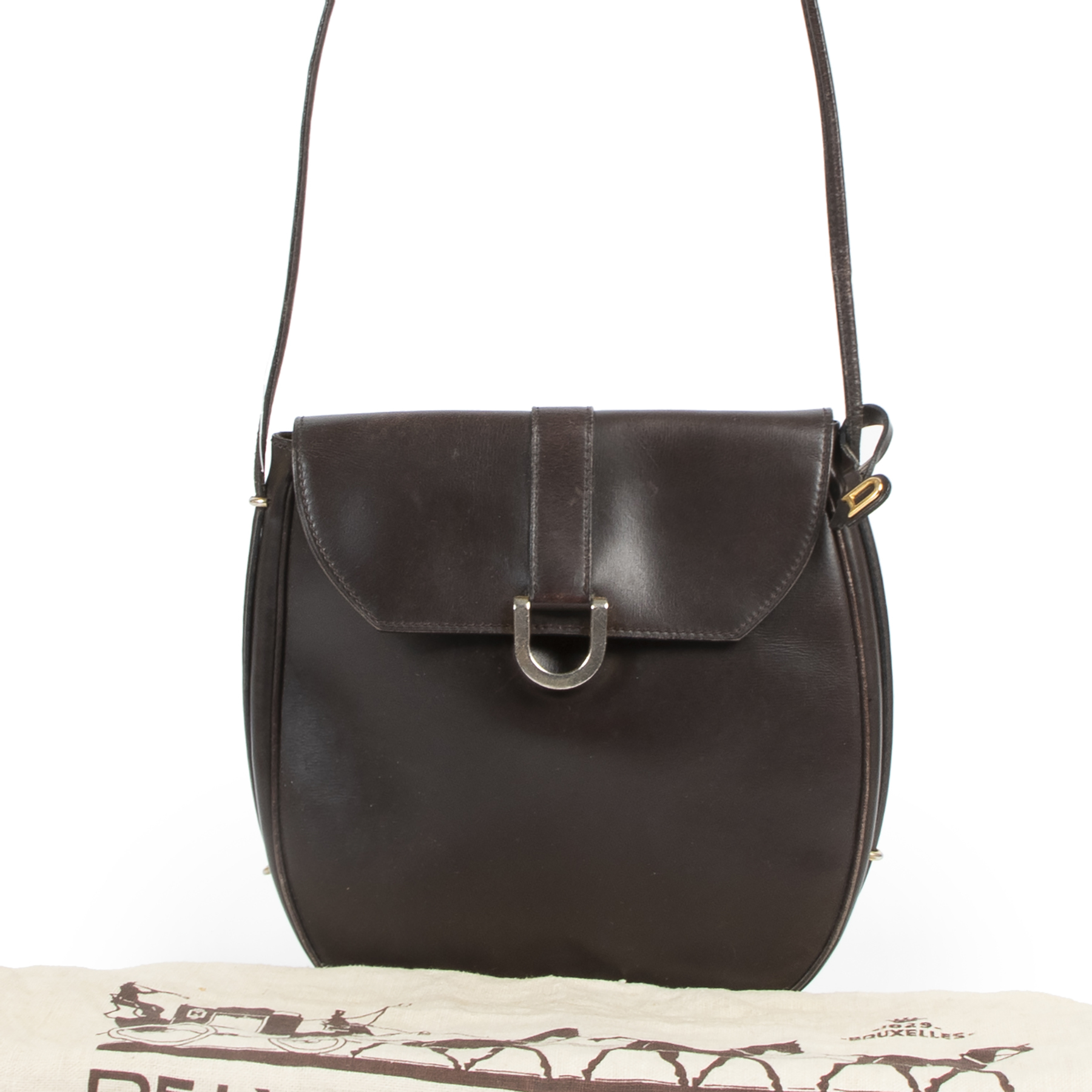 are you looking for an authentic designer Delvaux Vintage Brown Crossbody Bag?