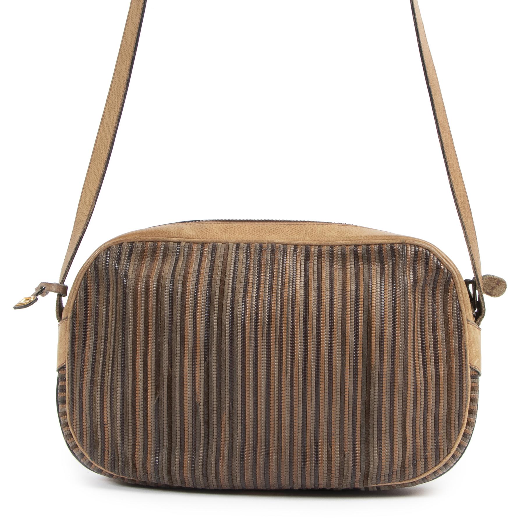 Authentieke Tweedehands Delvaux Cognac Toile de Cuir Leather Crossbody Bag juiste prijs veilig online shoppen luxe merken webshop winkelen Antwerpen België mode fashion