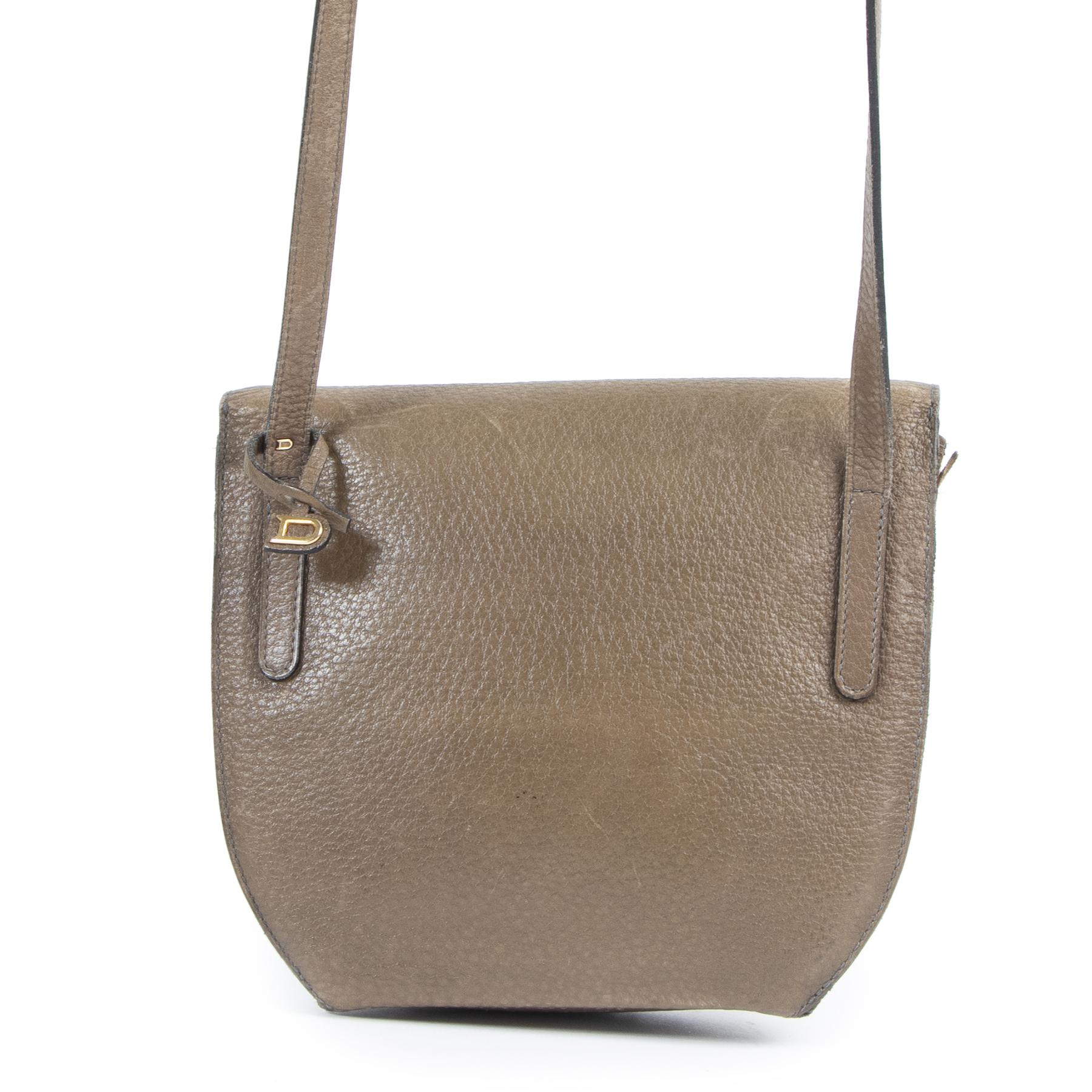 Authentieke Tweedehands Delvaux Taupe Toile de Cuir Crossbody Bag juiste prijs veilig online shoppen luxe merken webshop winkelen Antwerpen België mode fashion