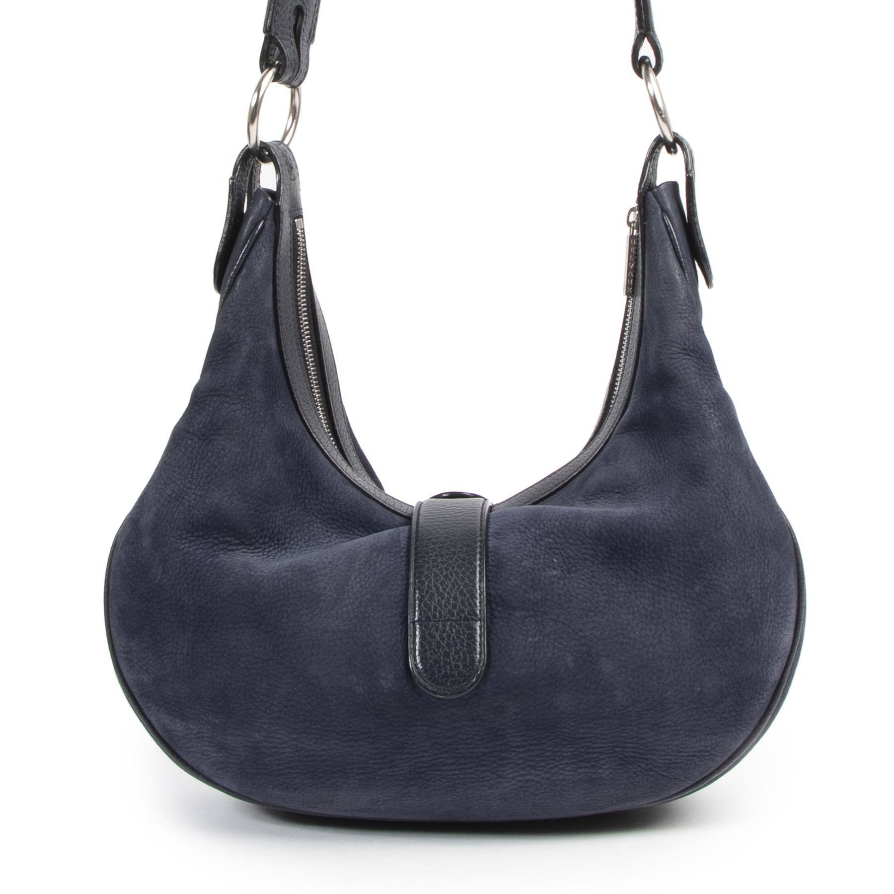 Authentieke Tweedehands Delvaux Blue Camille Nubuck Leather Bag  juiste prijs veilig online shoppen luxe merken webshop winkelen Antwerpen België mode fashion