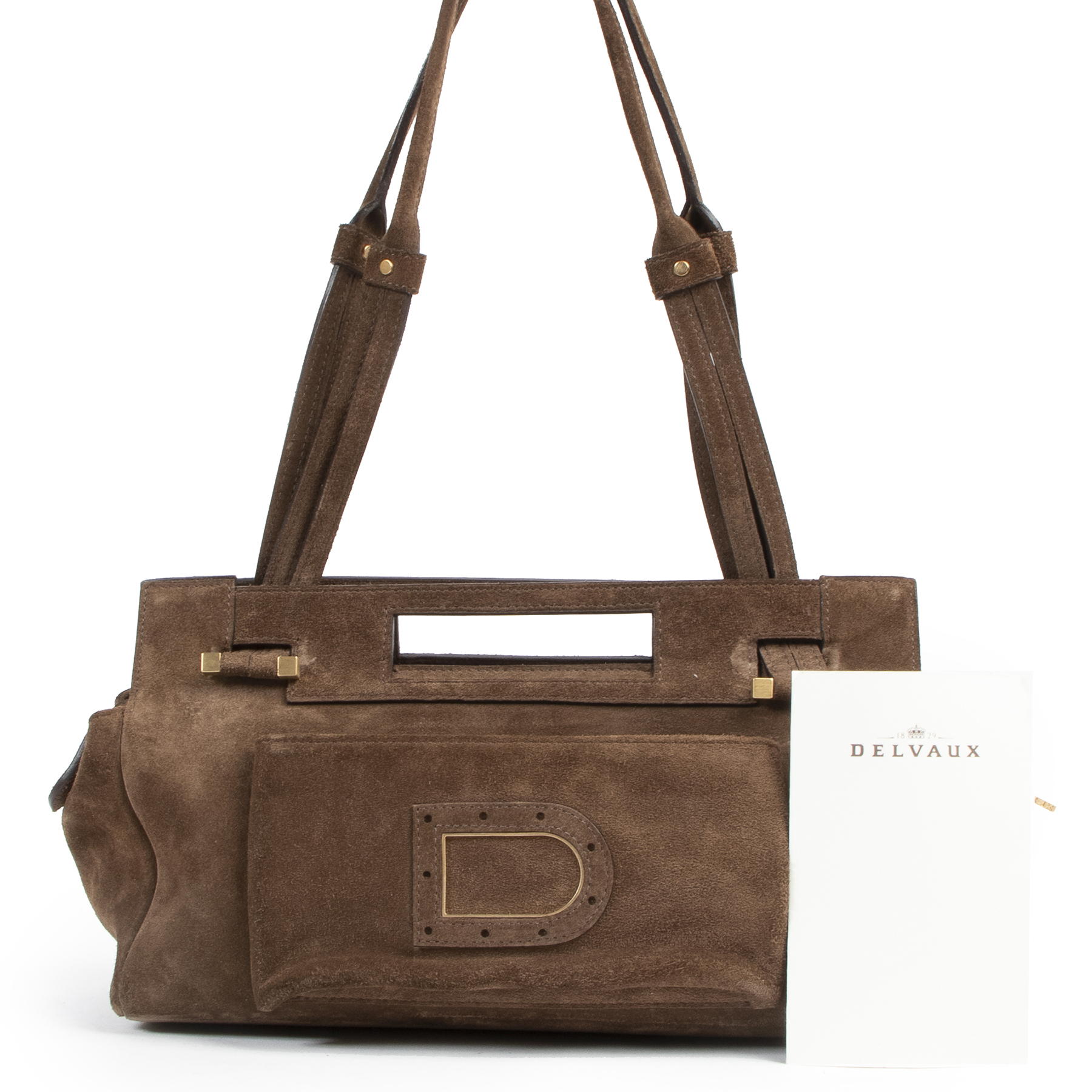 Authentic secondhand Delvaux Brown Suede Le Benjamin Shoulder Bag designer bags fashion luxury vintage webshop safe secure online shopping