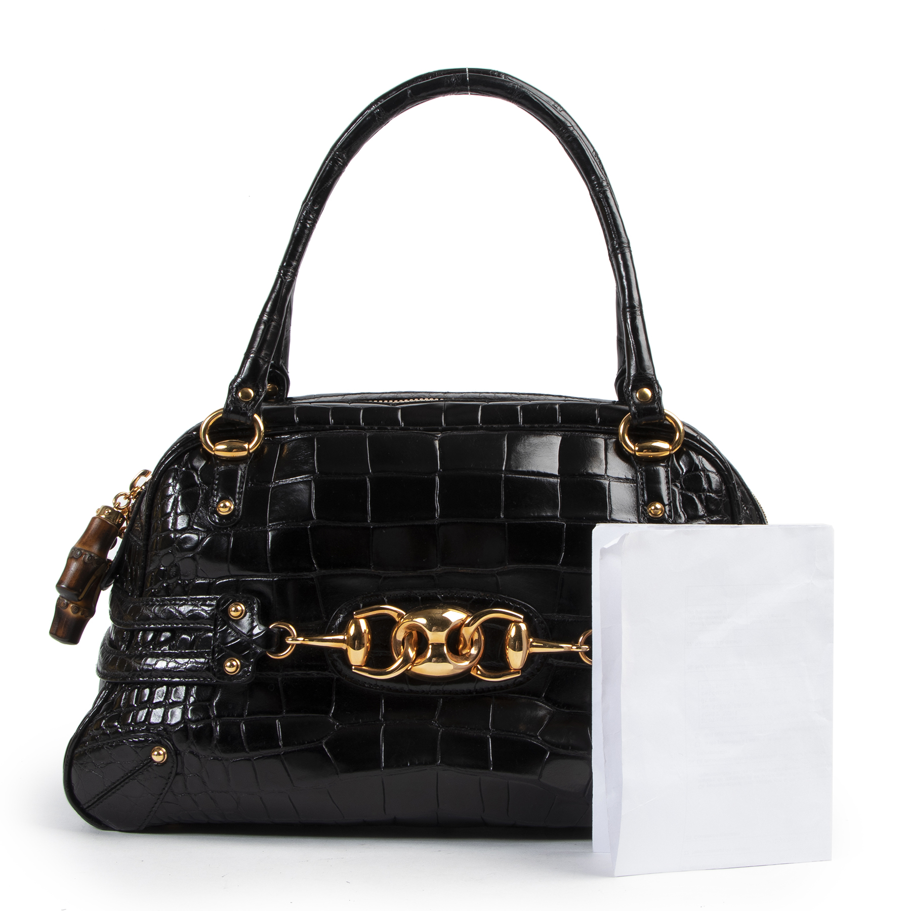 Bent u op zoek naar een authentieke designer Gucci Black Croco Wave Boston Bag