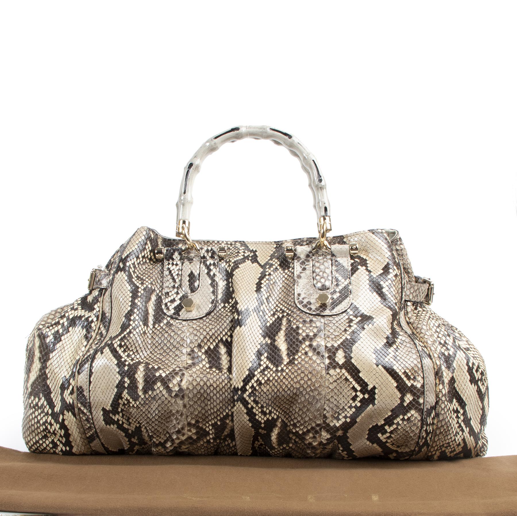 Gucci Brown Python Pop Bamboo Handbag kopen en verkopen aan de beste prijs