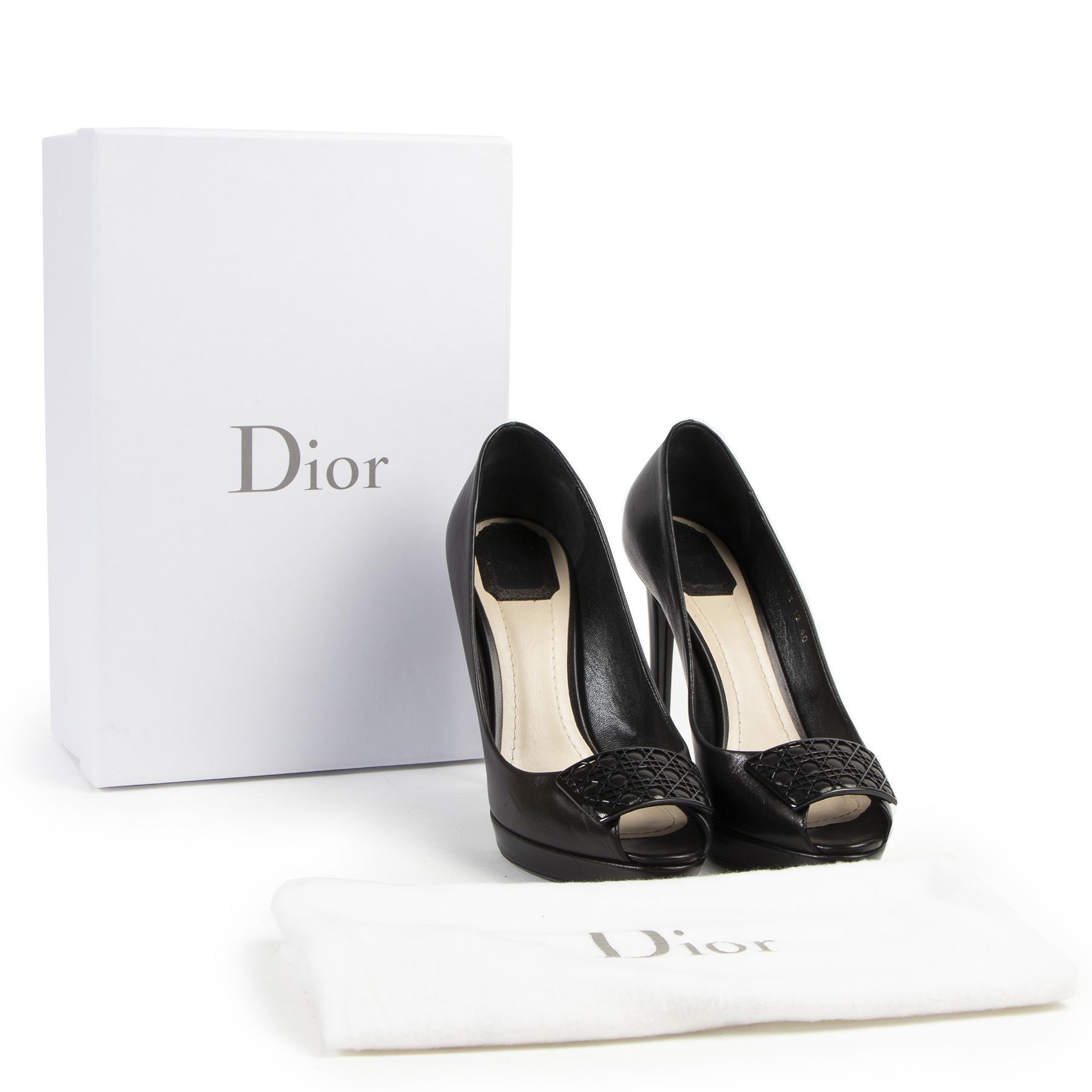 Dior Black Cannage Plaque Peeptoe Pumps - Size 40