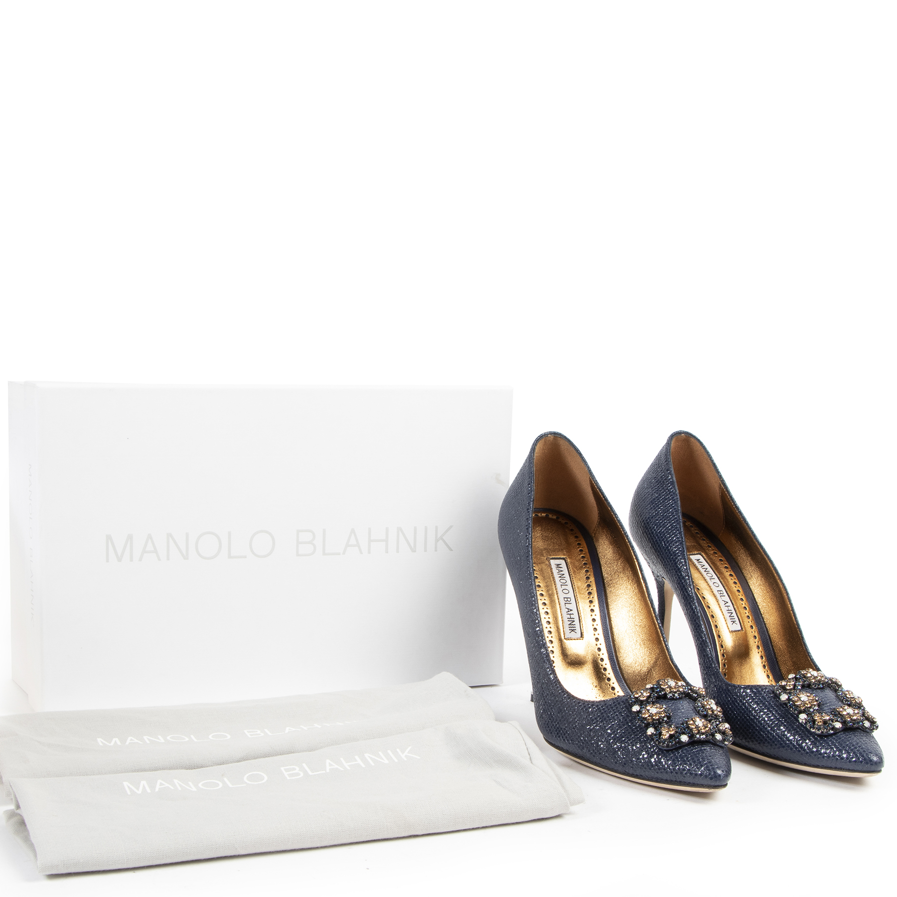Manolo Blahnik Printed Jeweled Buckle Pumps - Size 40