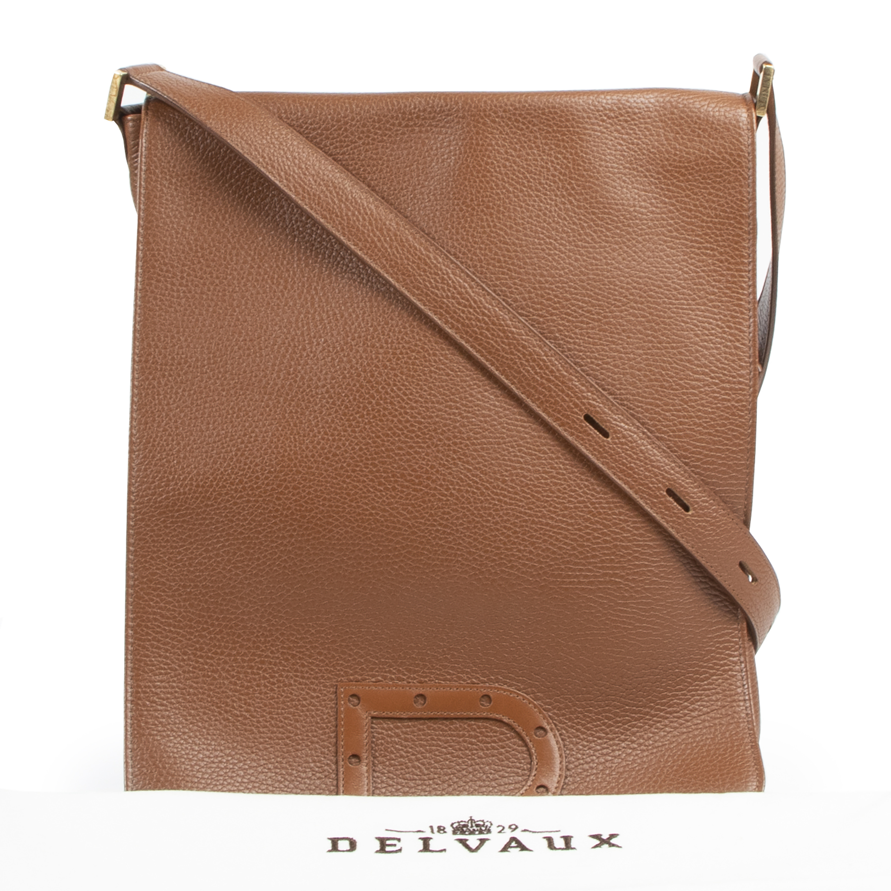 Authentic secondhand Delvaux Cognac Louise Baudrier Gm Shoulder Bag designer bags fashion luxury vintage webshop safe secure online shopping