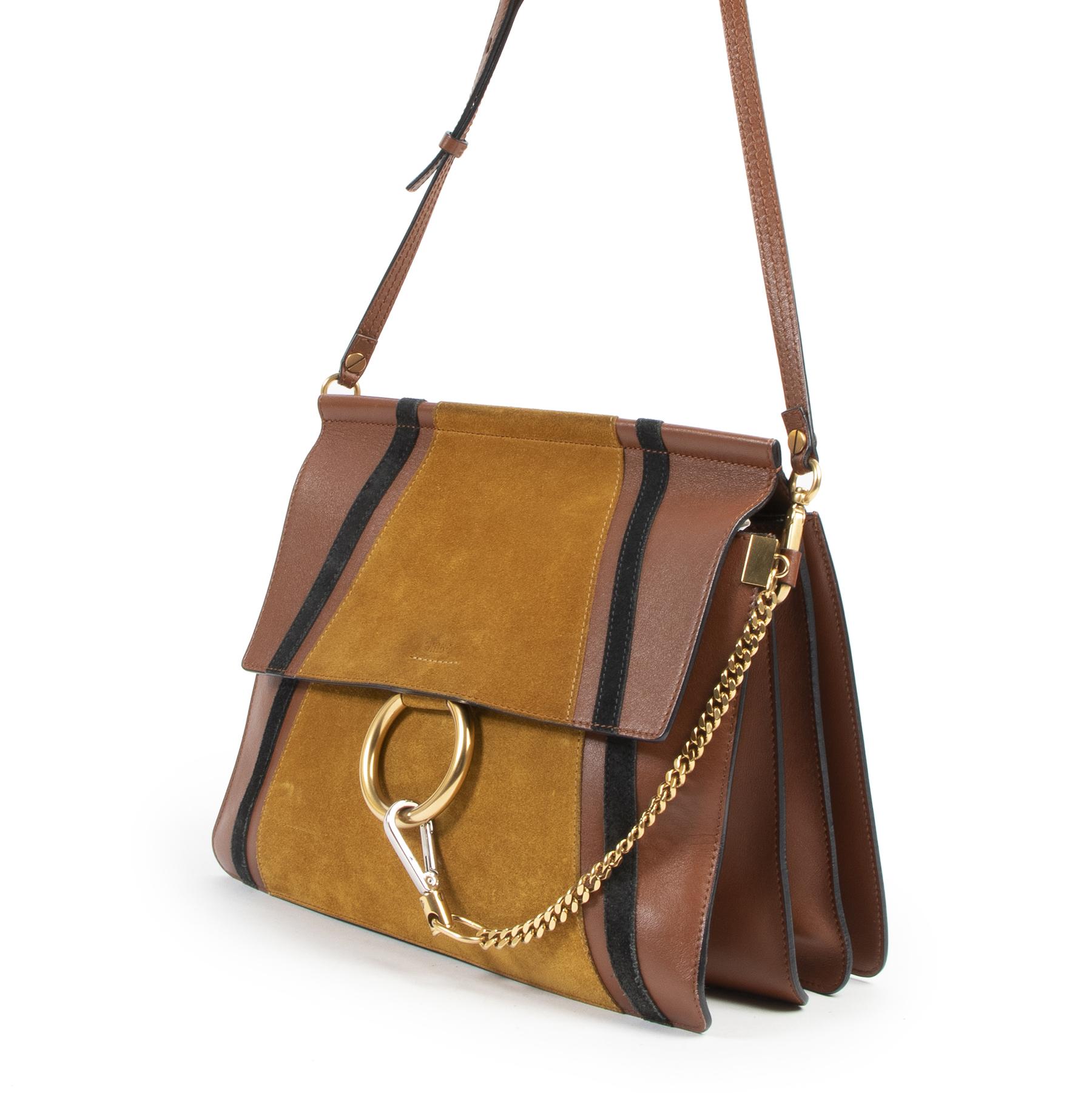 Chloé Faye Medium Patchwork Leather & Suede Bag pour le meilleur prix chez Labellov à Anvers Belgique