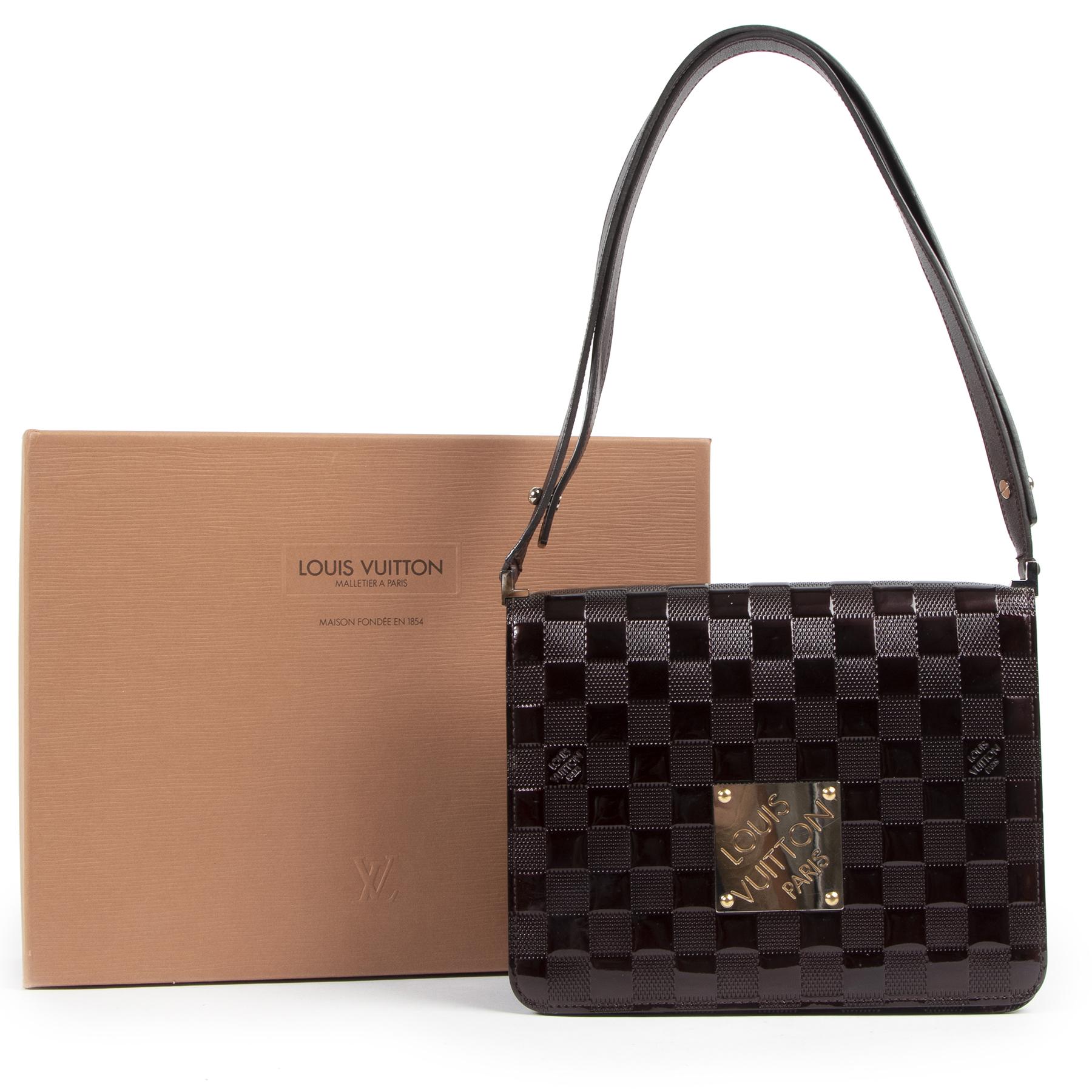 Authentic secondhand Louis Vuitton Purple Damier Vernis Cabaret Bag designer bags fashion luxury vintage webshop safe secure online shopping