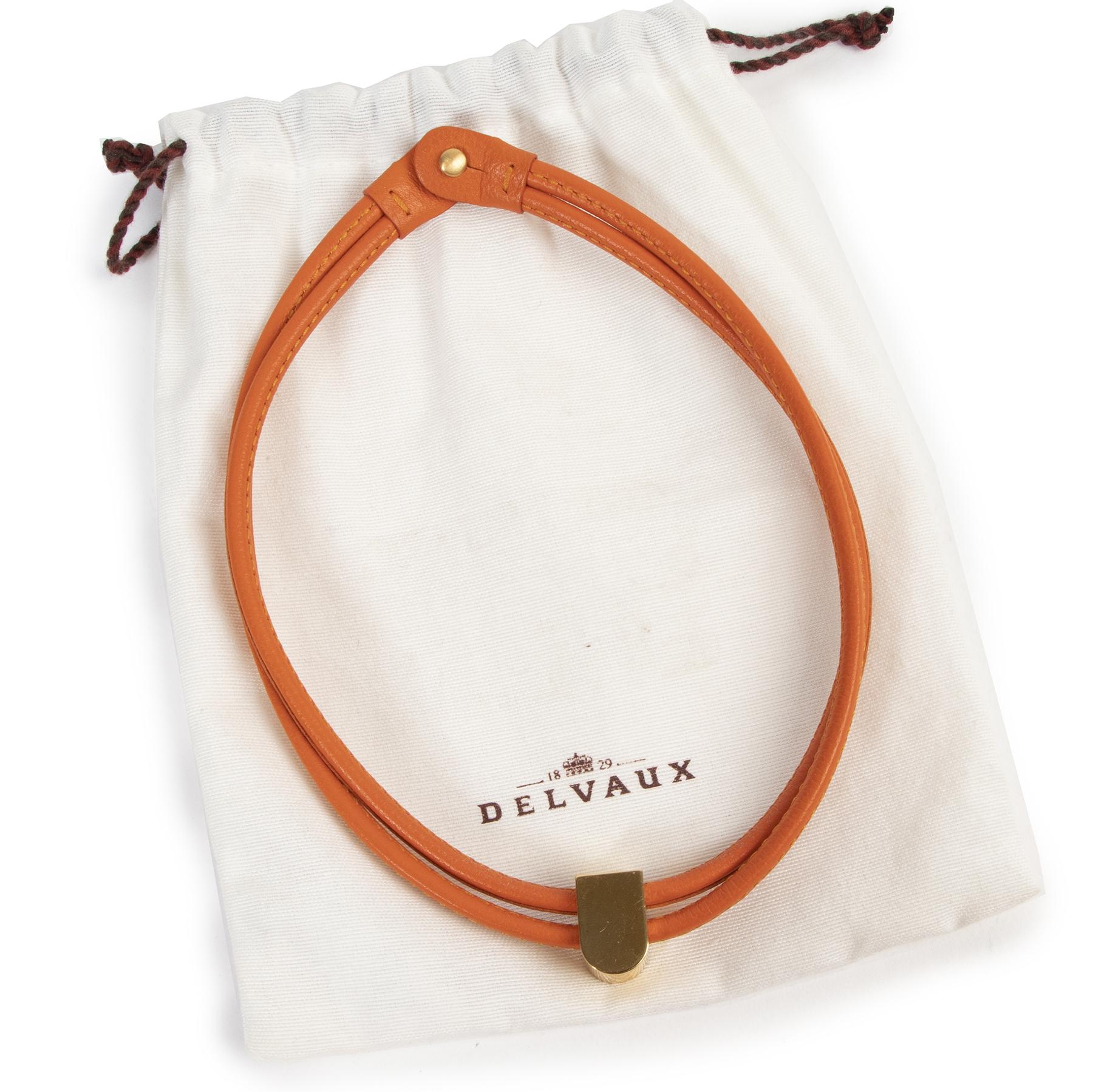 acheter en ligne seconde main Delvaux Orange Leather Necklace Gold D