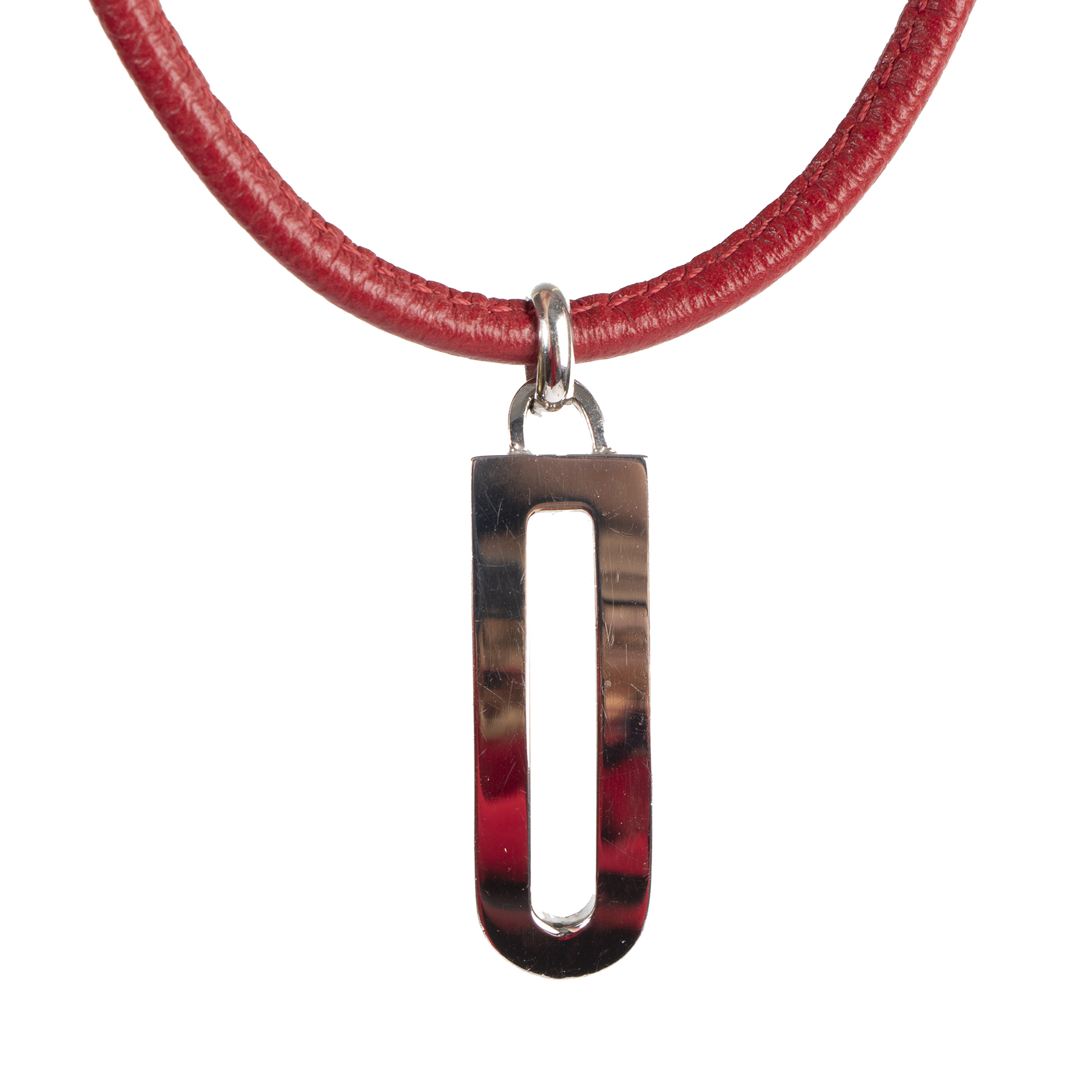 shop Delvaux Red Leather Necklace