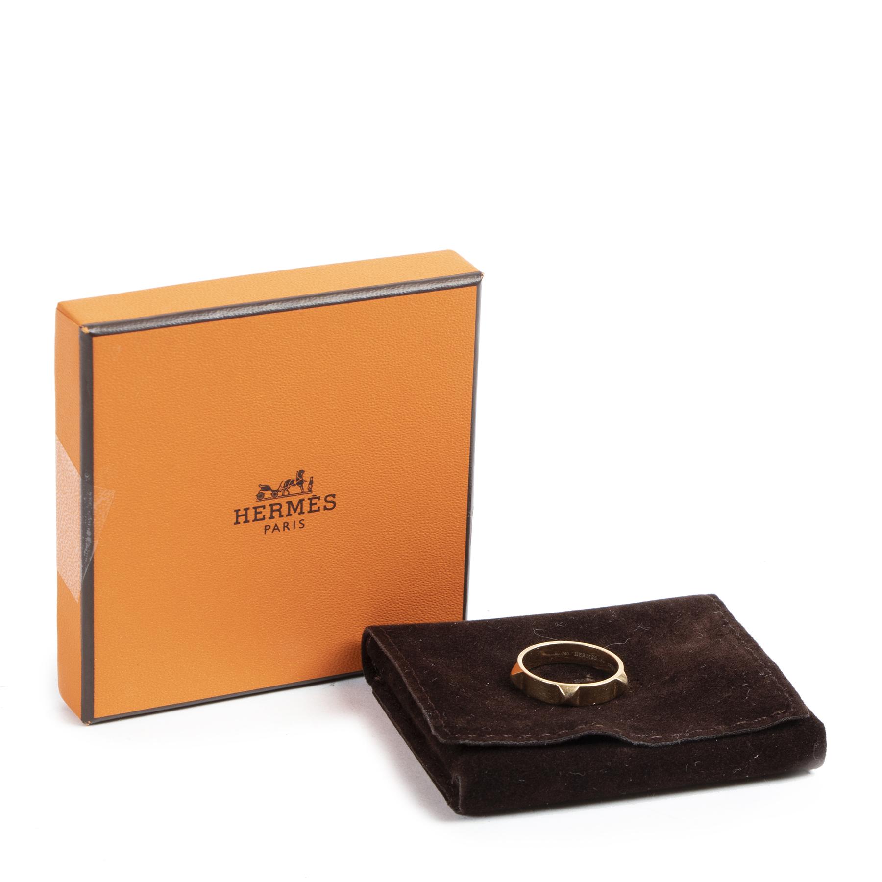 Hermes 18K Rose Gold Mini Clous Ring