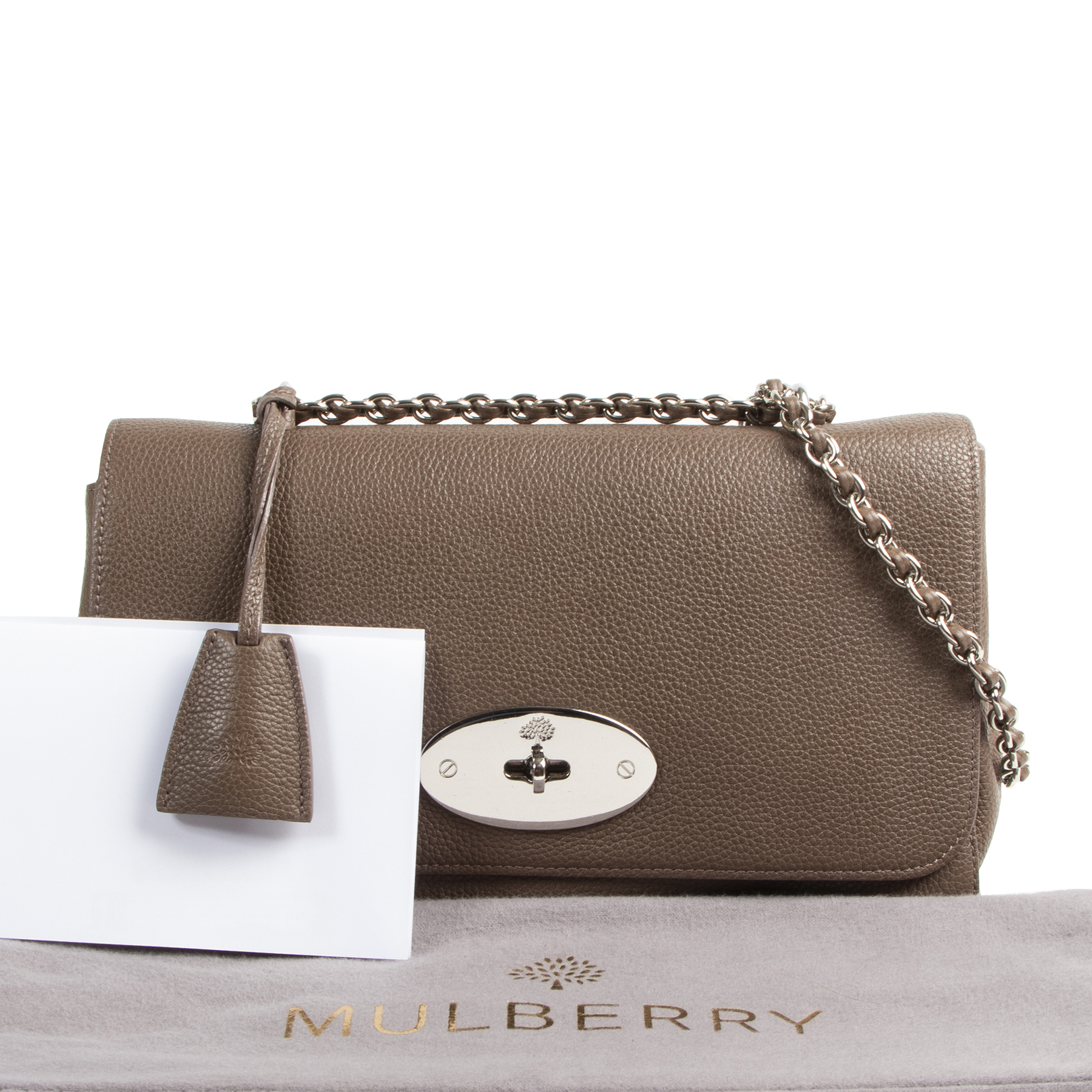 Mulberry Taupe Leather Medium Lily Shoulder Bag