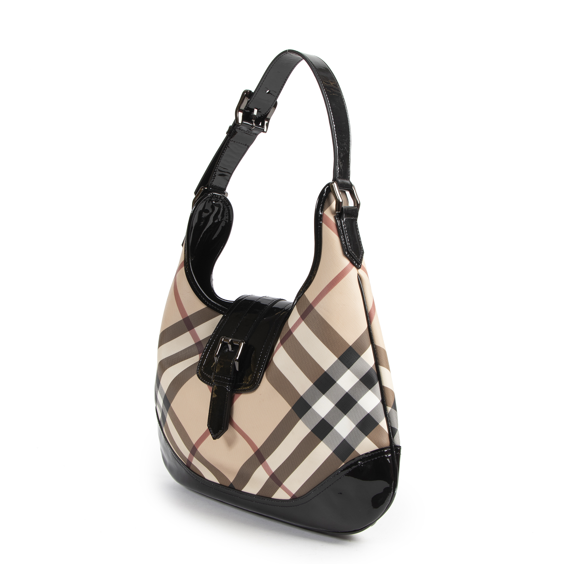 shop are online Burberry Coated Canvas Check Shoulder Bag