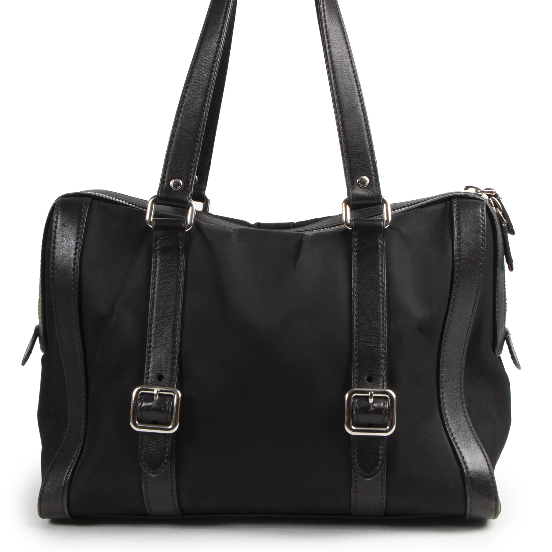 are you looking for an authentic designer bag for the best price? Prada Black Nyon Leather Shoulder Bag