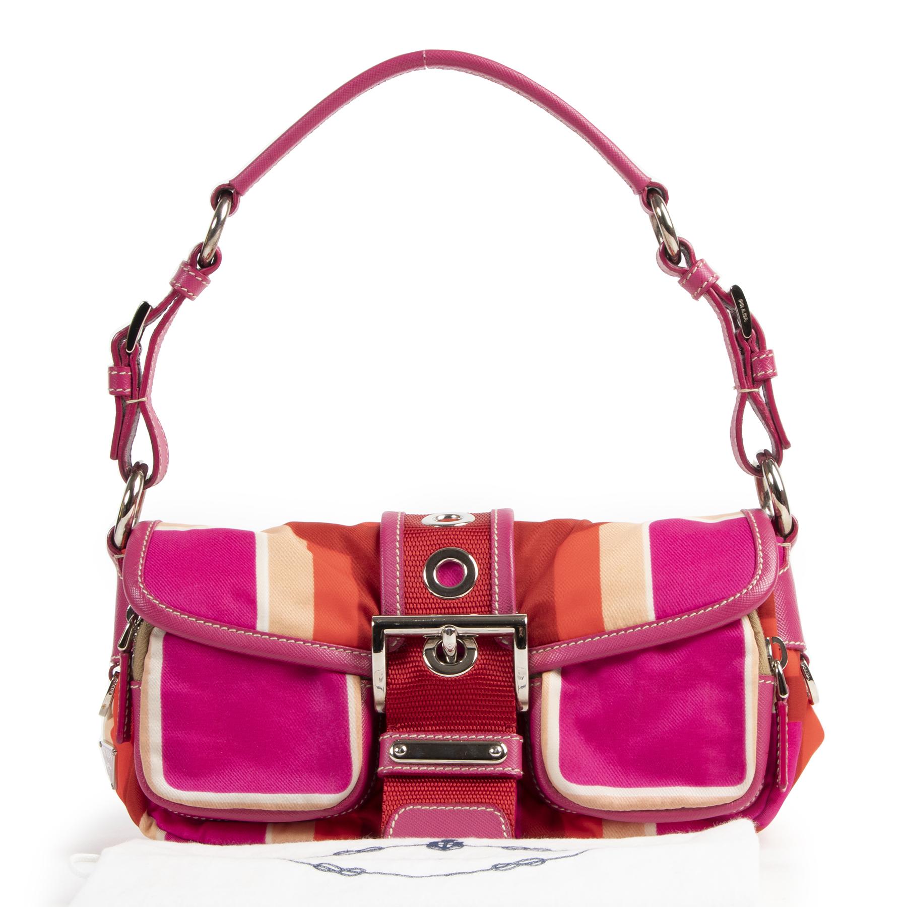 Prada Fuchsia Buckle Nylon Shoulder Bag