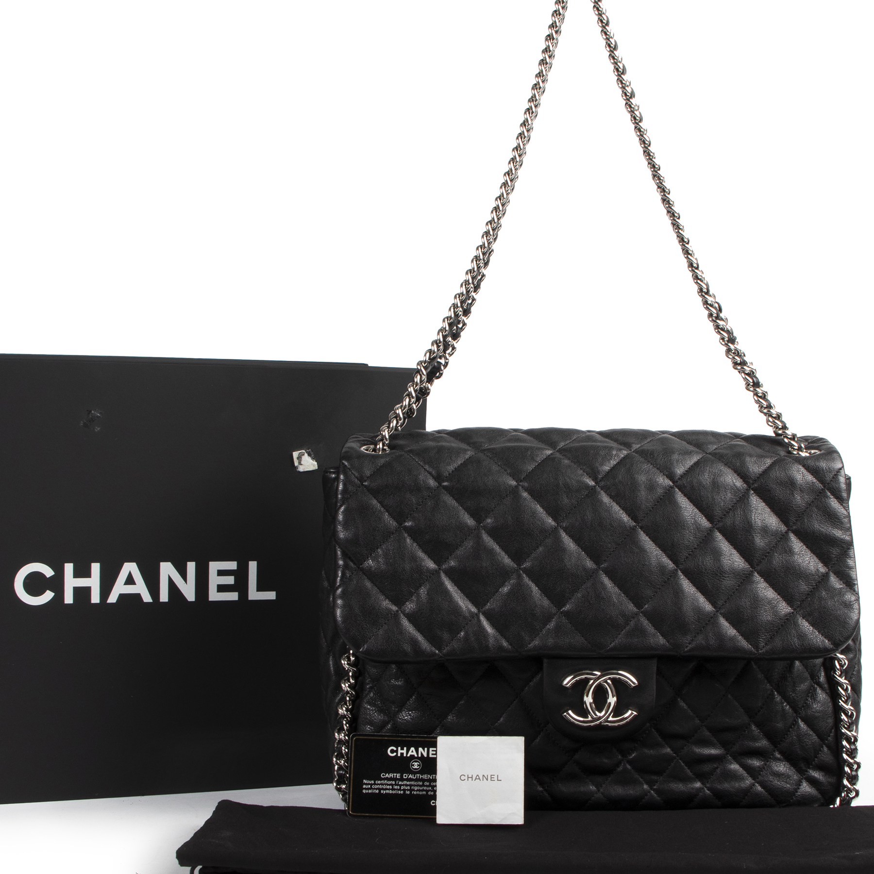 Authentic secondhand Chanel Black Quilted Leather Shoulder Bag designer bags fashion luxury vintage webshop safe secure online shopping