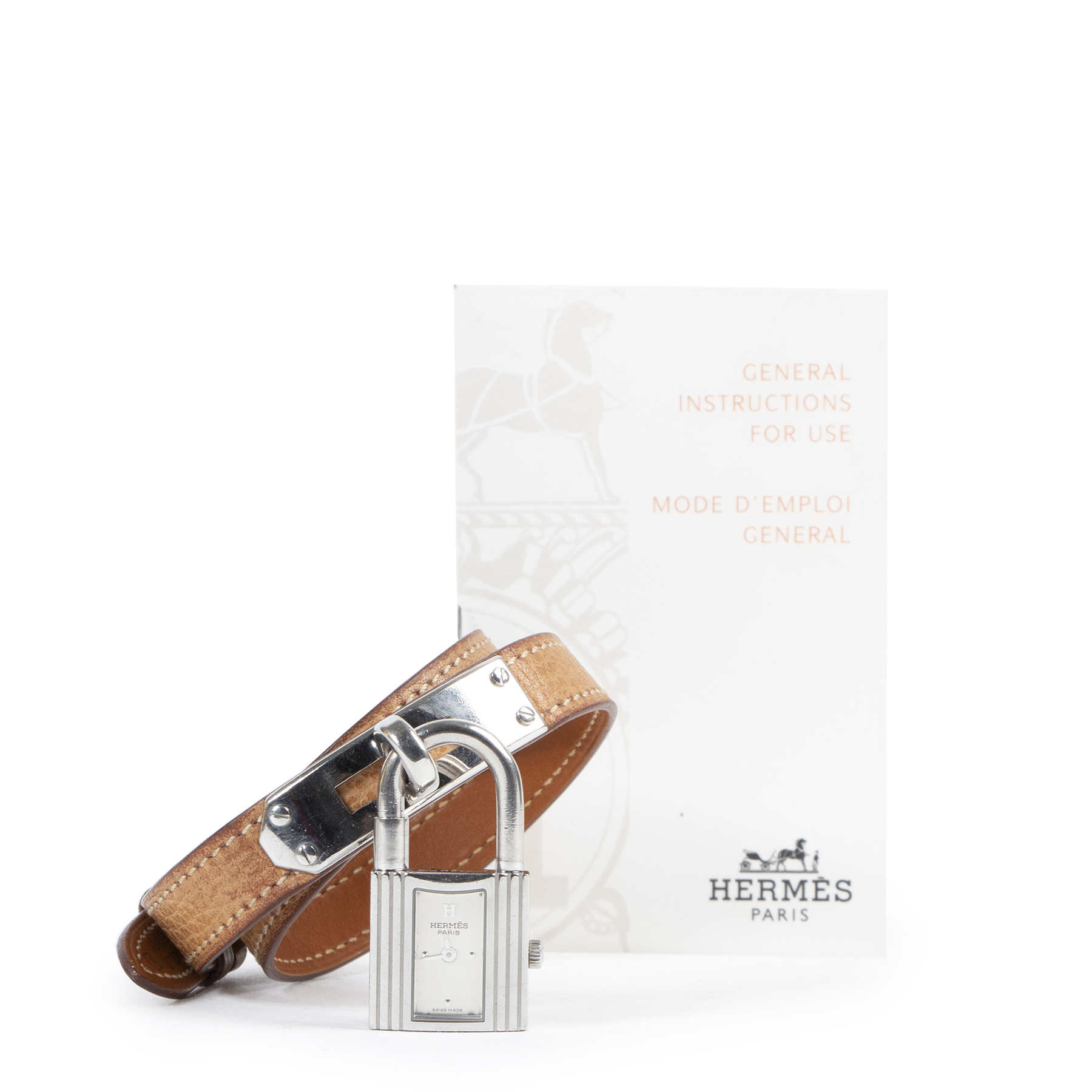 Authentieke Tweedehands Hermès Kelly Silver Watch - Size Large juiste prijs veilig online shoppen luxe merken webshop winkelen Antwerpen België mode fashion