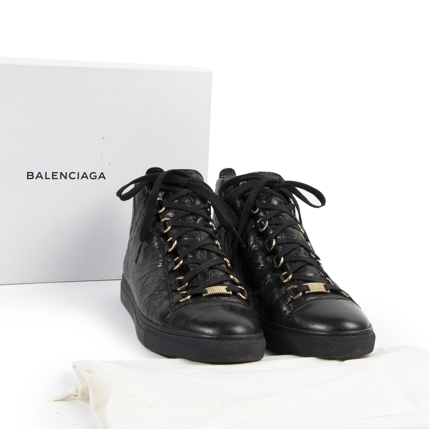Authentic secondhand Balenciaga Black Arena High Shiny Leather Sneakers - Size 40  designer sneakers fashion luxury vintage webshop safe secure online shopping