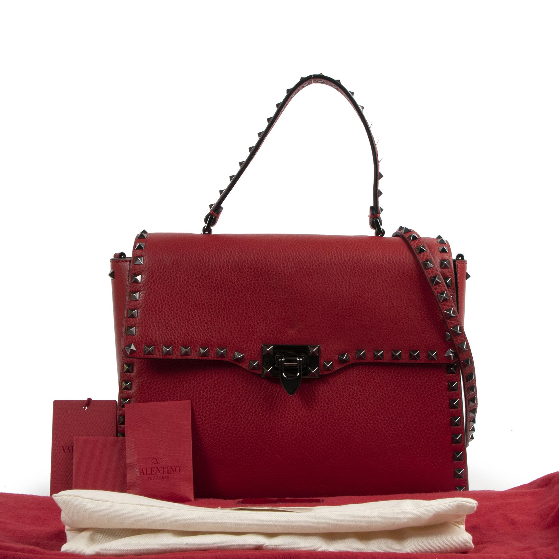 Valentino Garavani Red Leather Rockstud Shoulder Bag