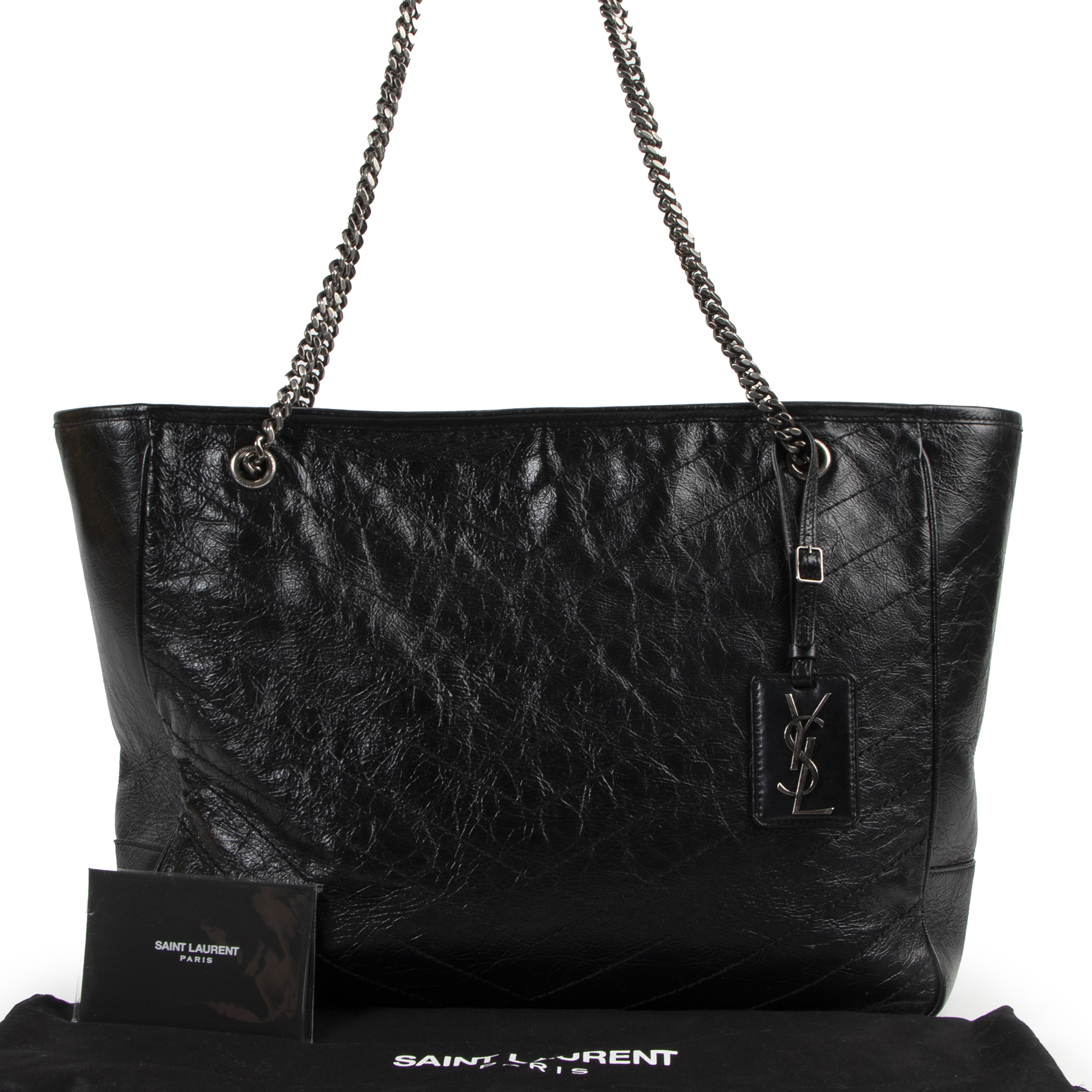 Saint Laurent Black Niki Quilted Leather Tote Bag