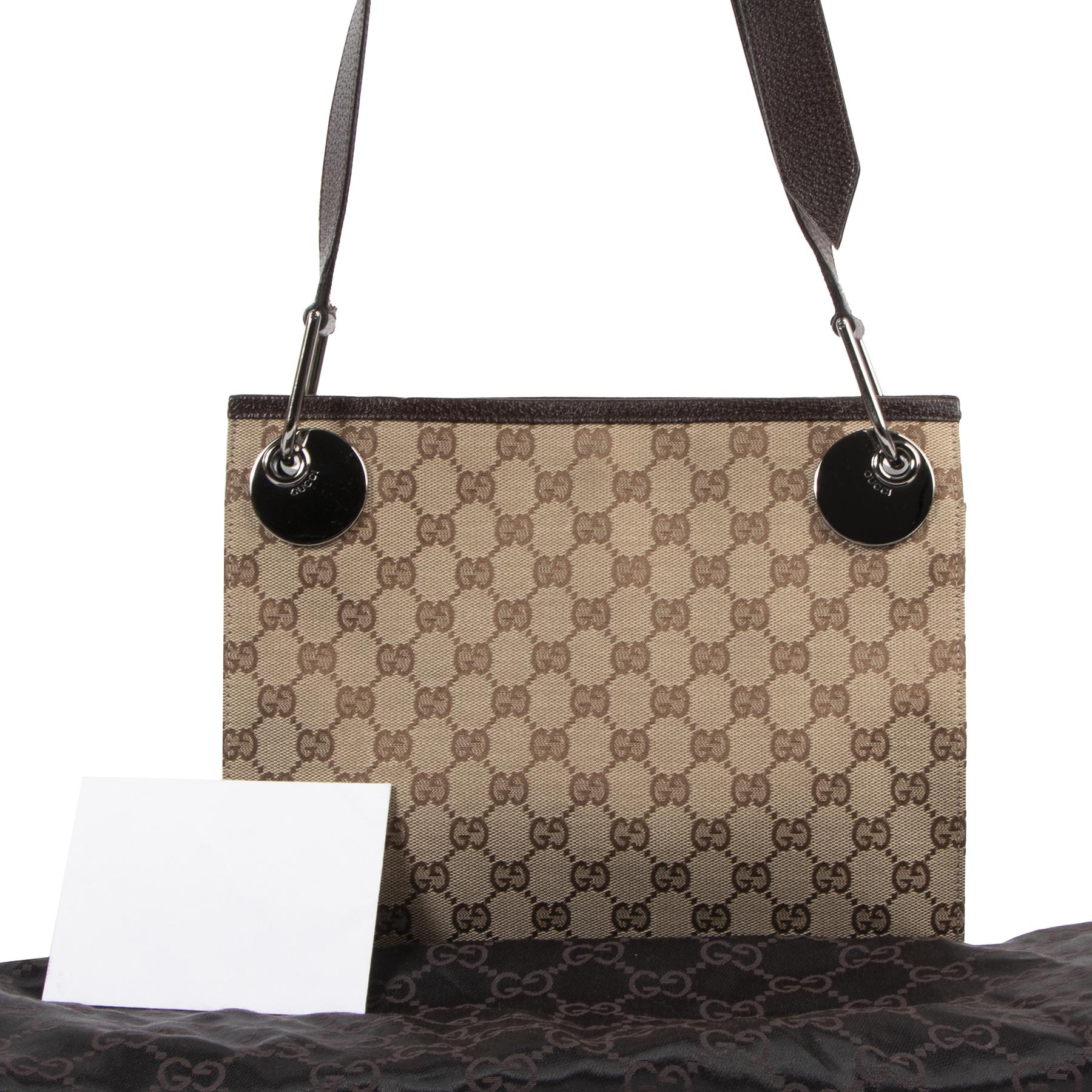Authentieke Tweedehands Gucci Beige GG Canvas Messenger Crossbody Bag juiste prijs veilig online shoppen luxe merken webshop winkelen Antwerpen België mode fashion