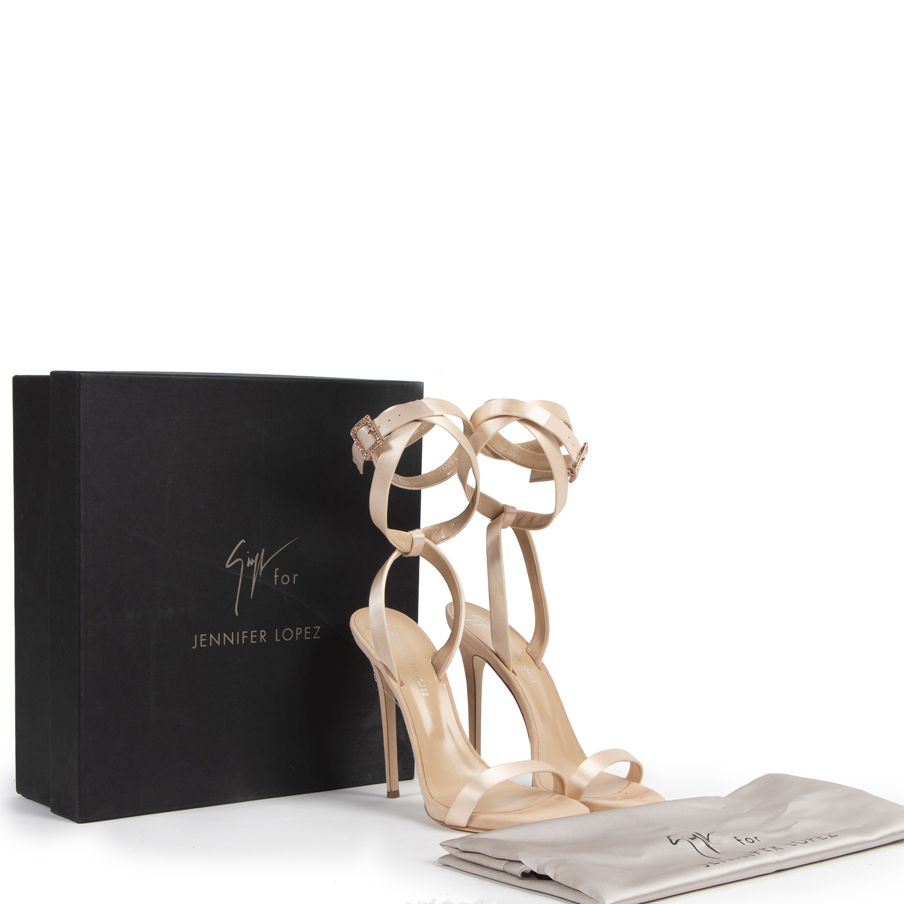 Authentic secondhand Guiseppe Zanotti for Jennifer Lopez Satin Sandals - size 40 designer bags fashion luxury vintage webshop shopping
