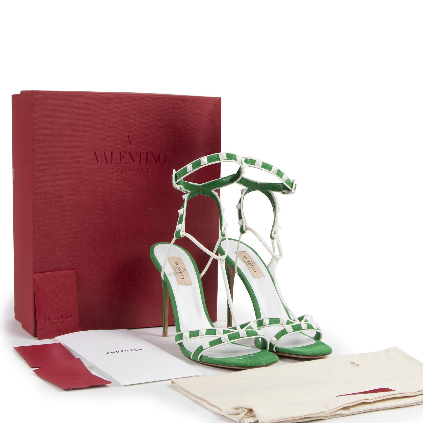 Authentic secondhand Valentino Garavani Peppermint Green Rockstud Sandals - size 40 designer shoes fashion luxury vintage webshop safe secure online shopping