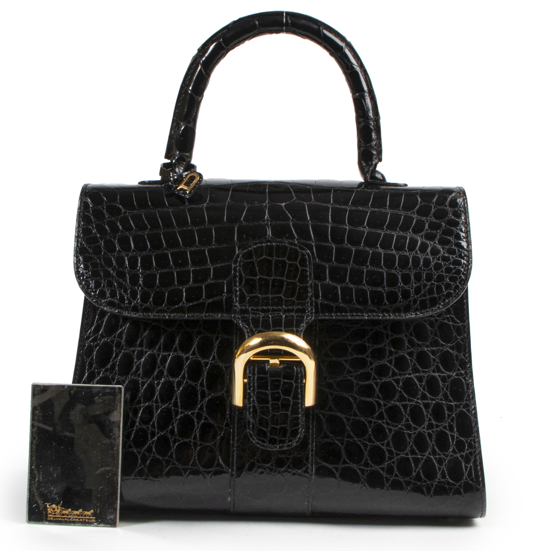 100% exclusive authentic coveted Delvaux Black Croco Brillant MM GHW